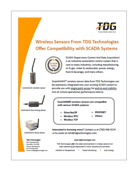 SmartHAWK wireless sensors are designed for compatibility with many SCADA systems.