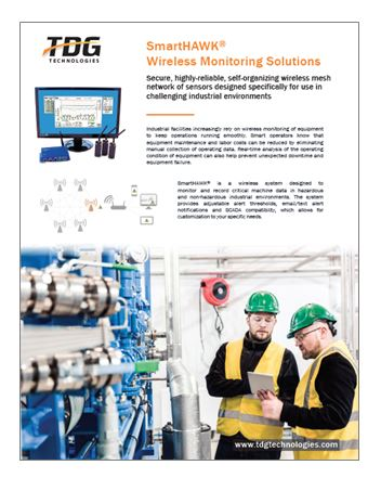 The SmartHAWK Wireless Monitoring Solution monitors and records critical machine data in both hazardous and non-hazardous industrial environments.
