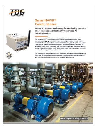 The SmartHAWK Power Sensor optimizes plant operations by logging motor activity and operating characteristics based on interval defined by users.