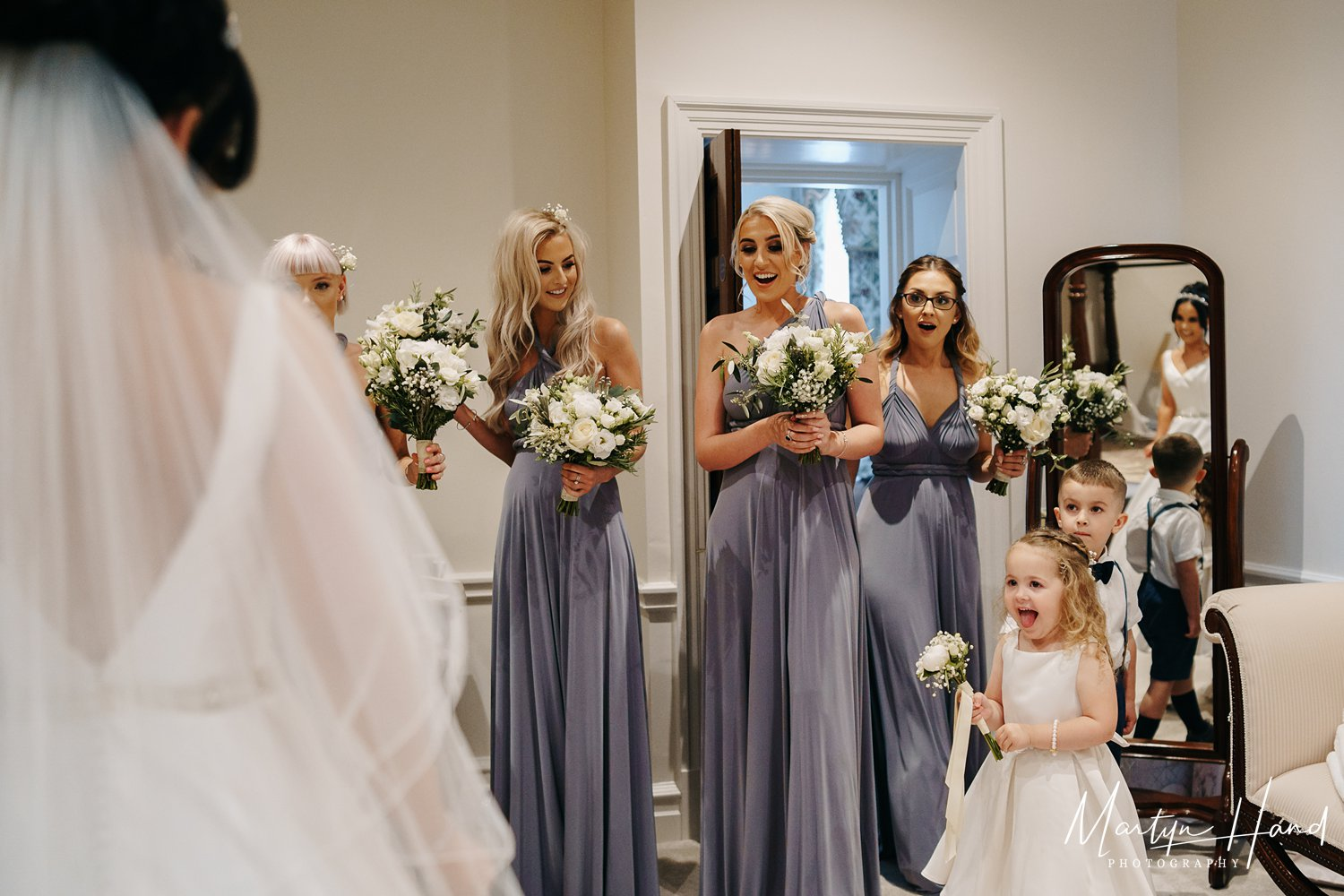Bride Wedding Dress Bridesmaids Wedding Denton Hall Yorkshire