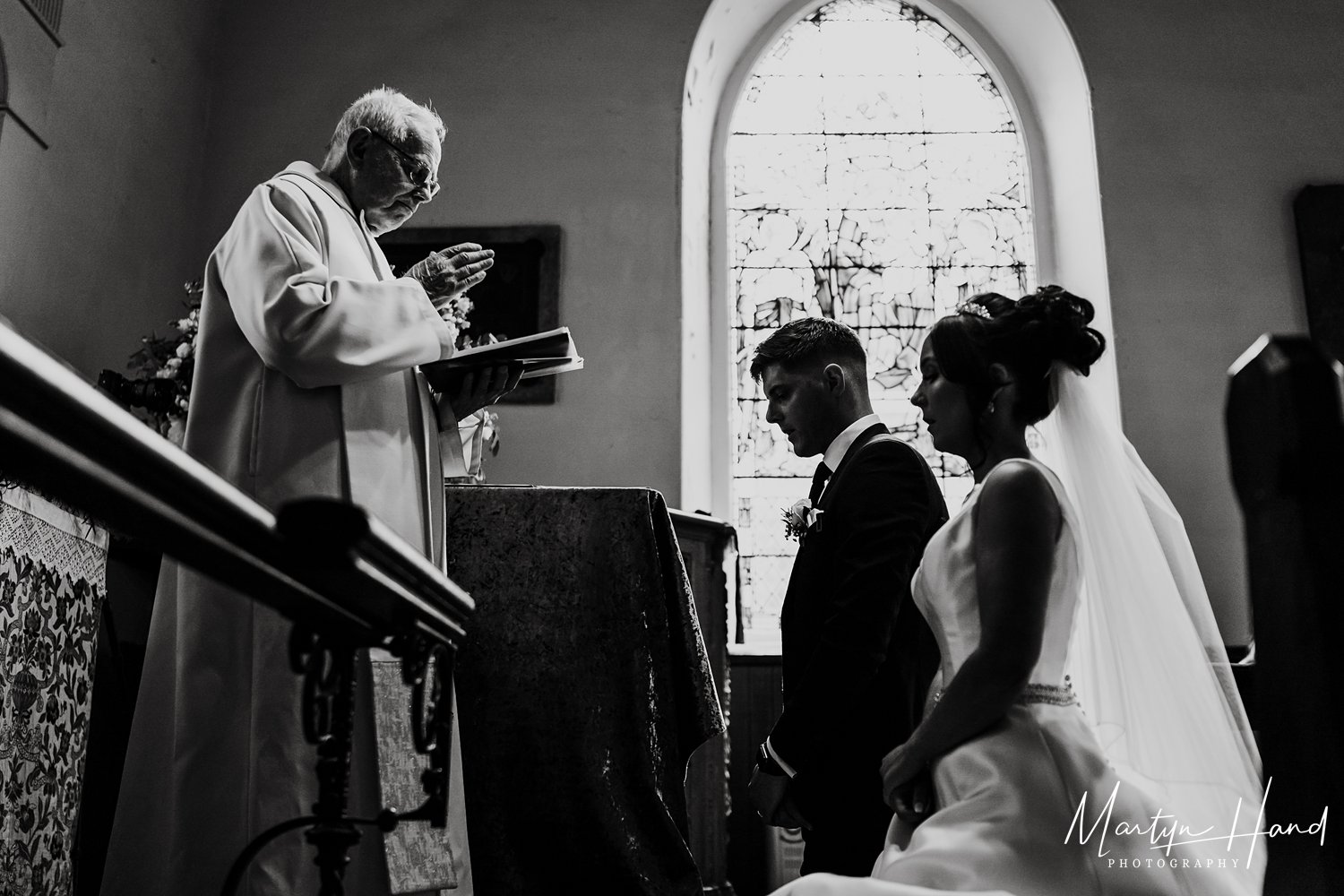 leeds church wedding Photography black adn white