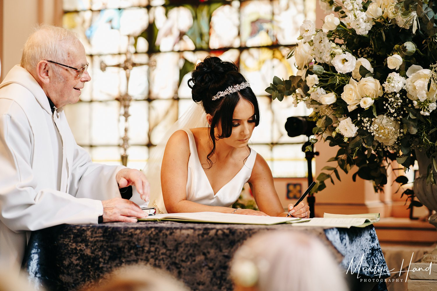 Signing register bride church wedding yorkshire