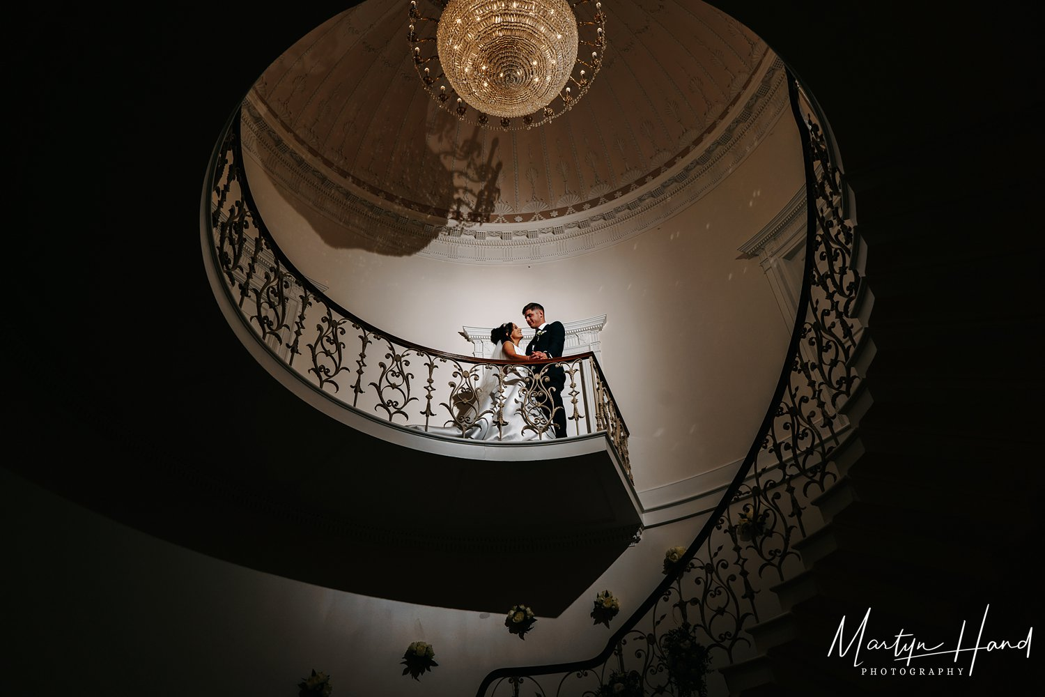 wedding portrait denton hall staircase yorkshire photography