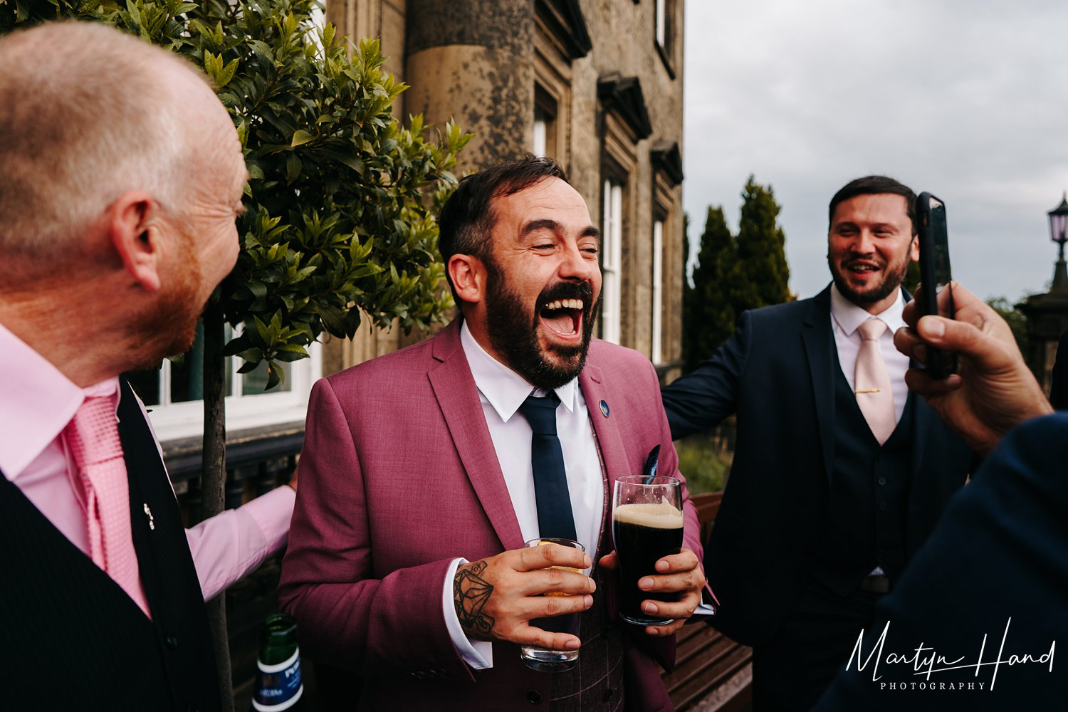 natural wedding photographer fun laugh beer yorkshire