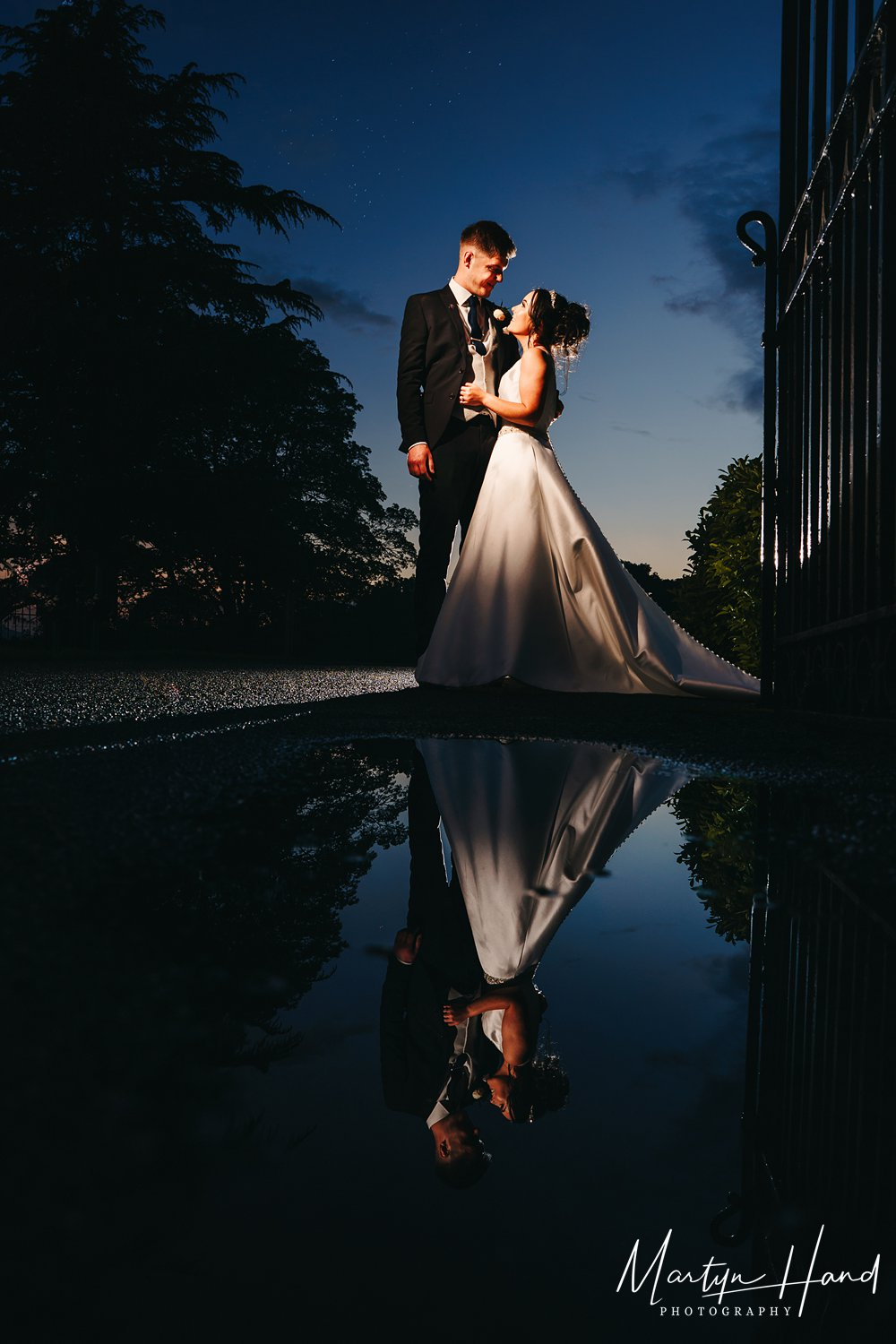 wedding portrait reflection puddle denton hall leeds yorkshire