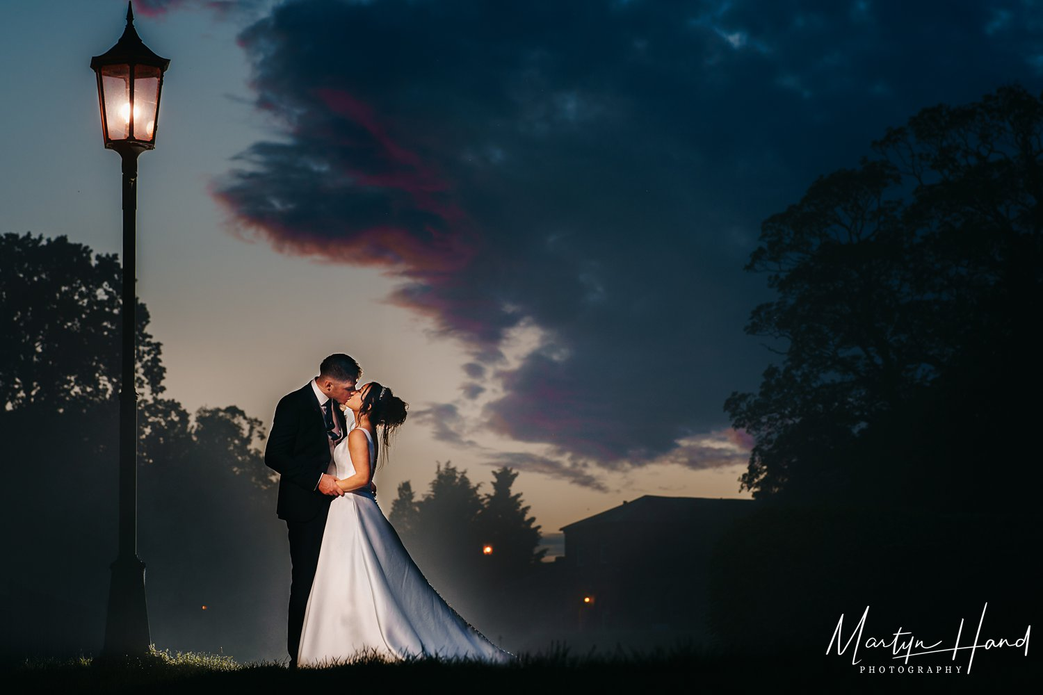 night time wedding picture yorkshire denton hall