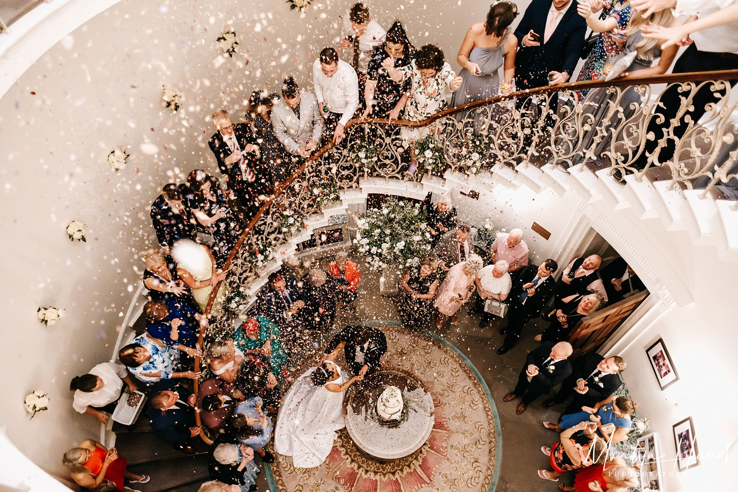denton hall staircase confetti wedding