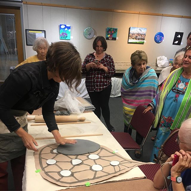 Making tiles with our speaker, @kckrantz! At the Palisades Library.