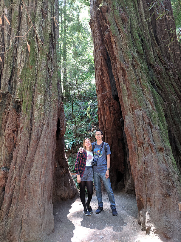 Kyna and his wife in Muir Woods, California.