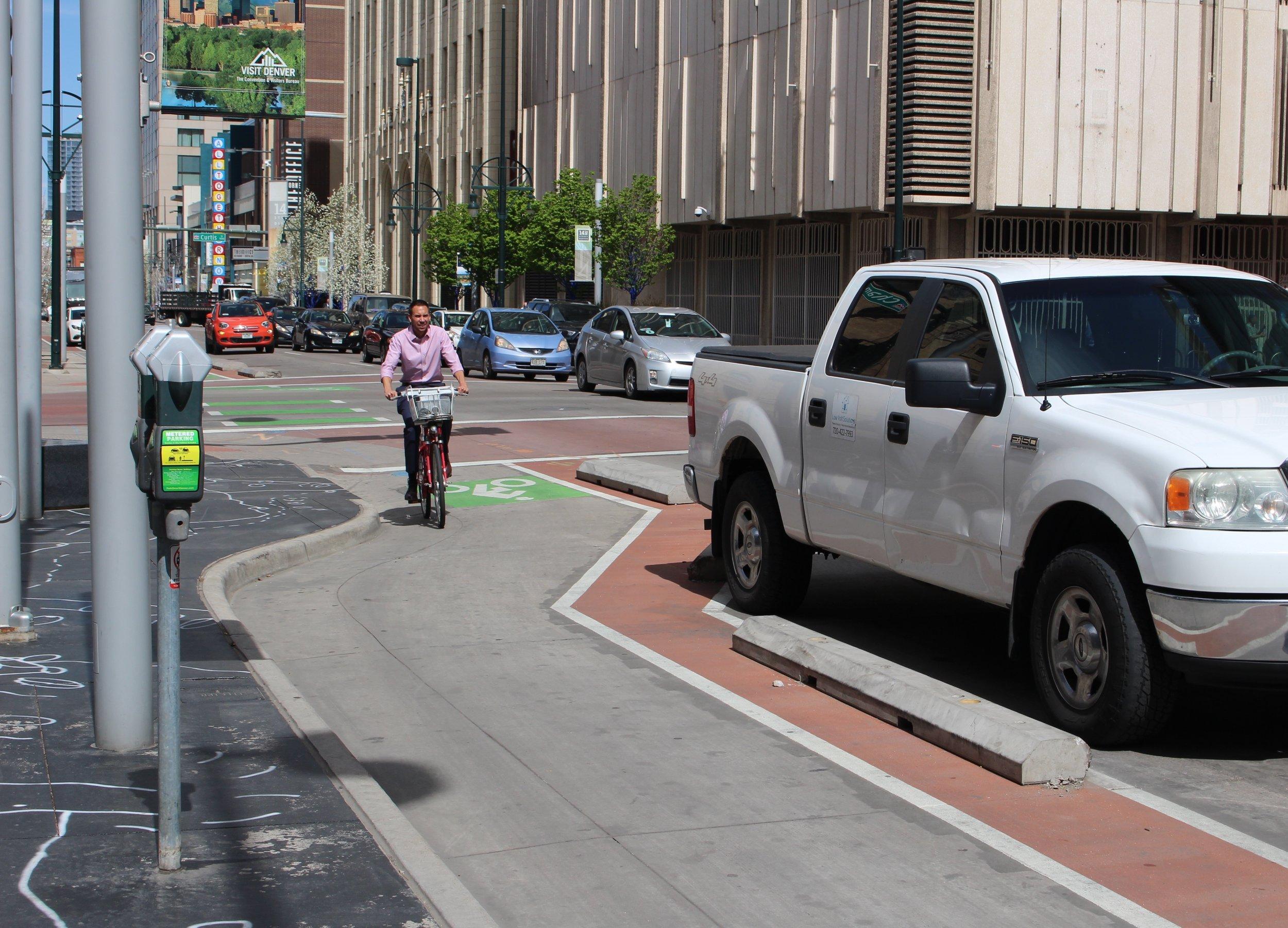 Protected Bike Lane in Downtown Denver