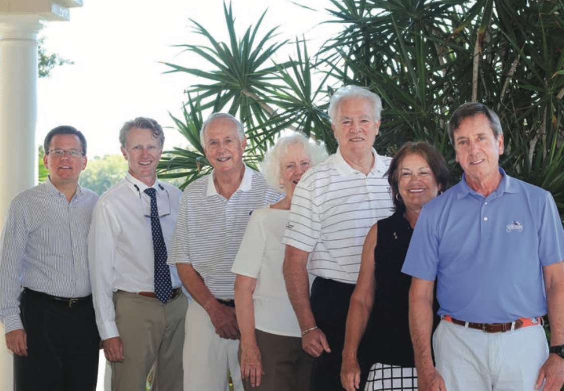 From left, The Sanctuary Golf Club COO Ken Kouril, Director of Golf Brett Kist, Charitable Foundation of the Islands Board President Al Hanser, event honorary chairs Chip and Nancy Roach, Sanctuary Tournament Committee Chair Jackie Bingham and Board of Governors President John Schmidlin