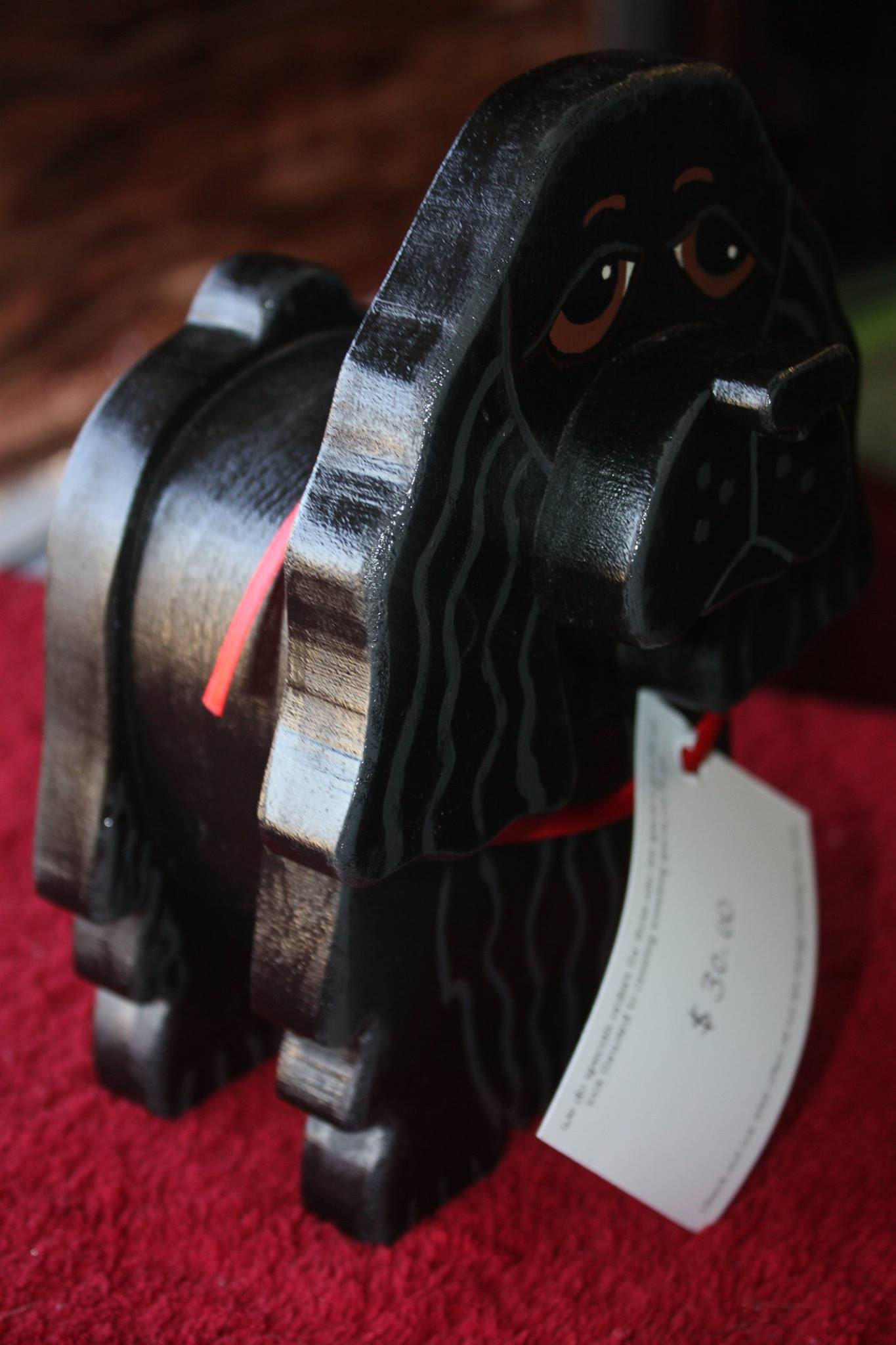 The Animals can be customized to look like your personal animals when ordered through S & S Wood Creations Etsy page,or you can buy this black beauty at the FOPAS Second hand shop for $30.00. 50% of the wood creations sold from the shelters profits go to the animals.