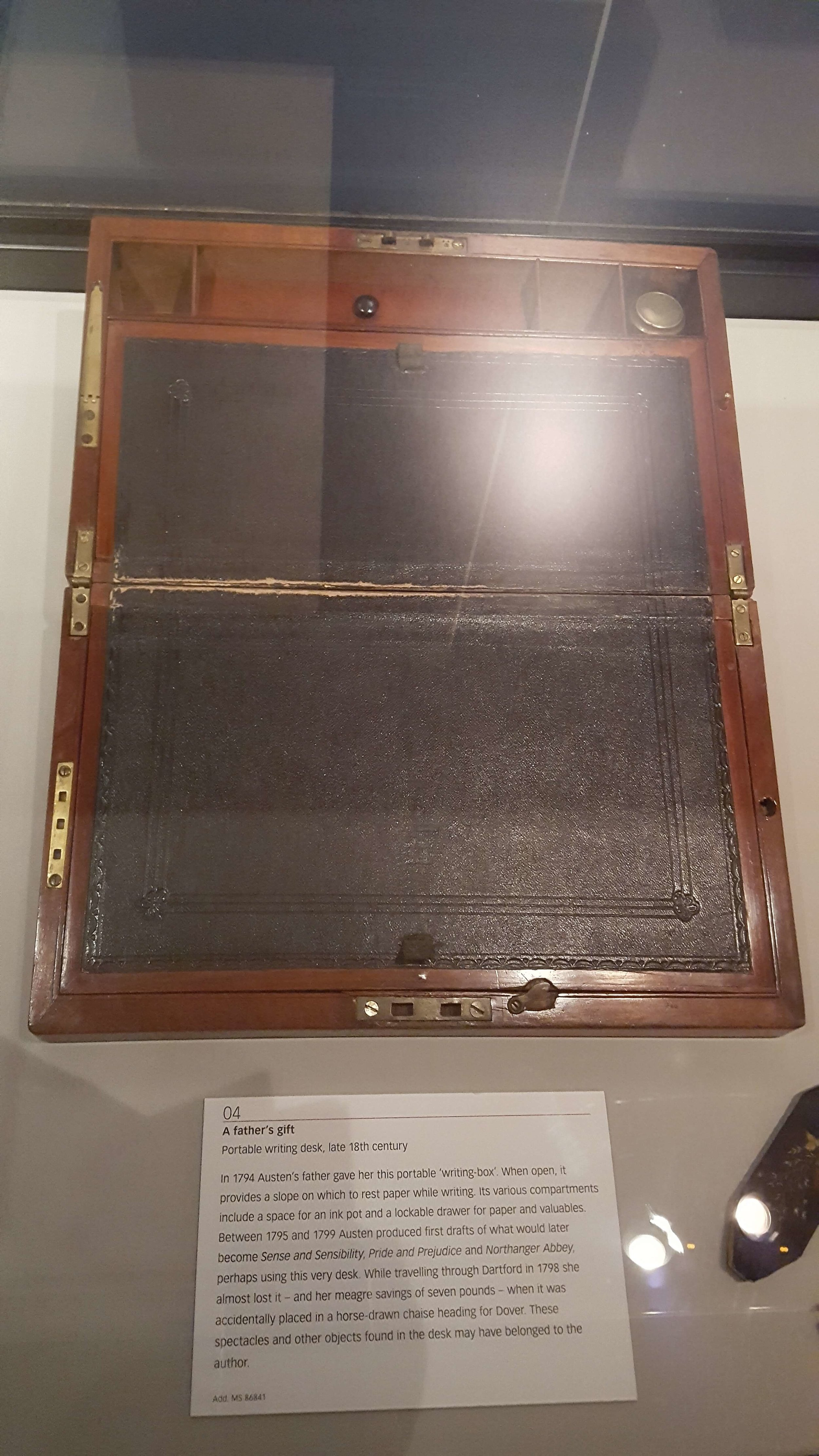 This is Jane Austen's portable writing box given to her by her father. She produced the first drafts of  Sense and Sensibility  and  Pride and Prejudice  on it. We'll take a gander at it during our tour of the British Library.