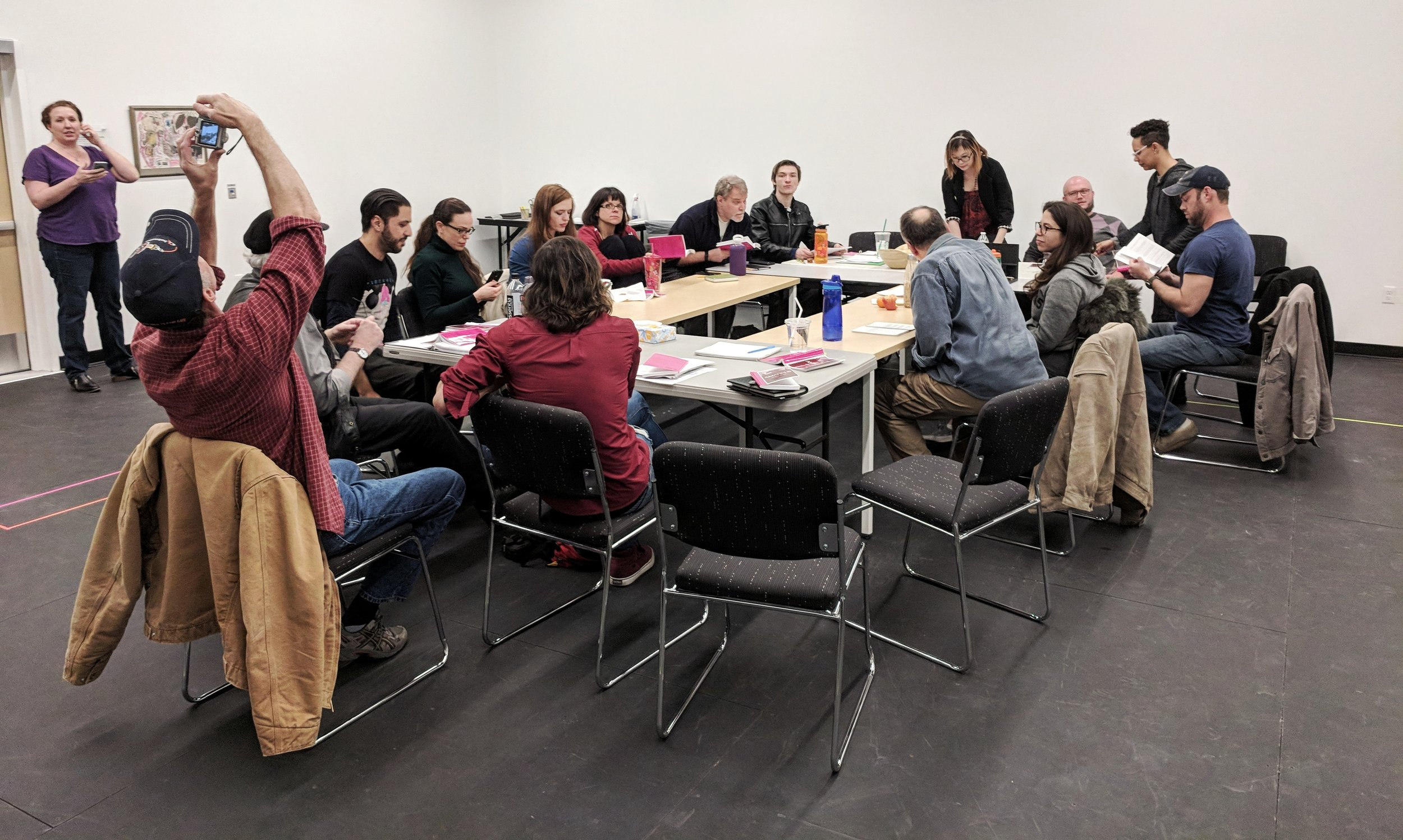 Table read at the first rehearsal on Tuesday.