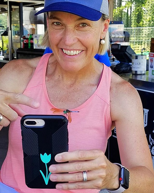 Notice the beautiful friend who landed on the corner of my phone.  I love the little signs of natural beauty that surround us.  #dragonfly #joy #blessings #gratefulheart #thesweatlife #lululemon #lululemonambassador