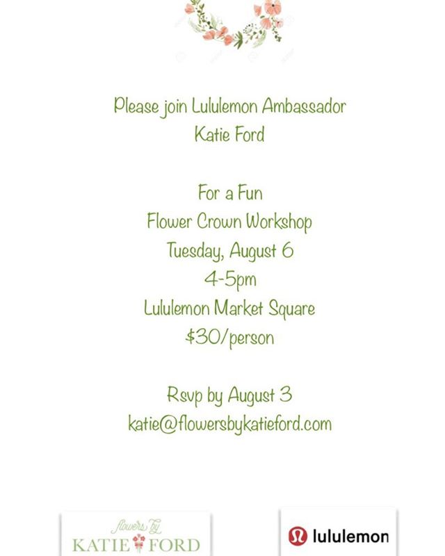 Please join me on August 6 for a Flower Crown Workshop at Lululemon Market Square!  Please Email me at katie@flowersbykatieford.com to reserve a spot. Wear your crown to Lake Forest Day carnival and events! 🌿🌸🌼🌿🌸🌼 #lululemonambassador #lululemon #flowerpower #flowertherapy #flowersbykatieford #northshoreflorist #thesweatlife #flowers #flowercrown