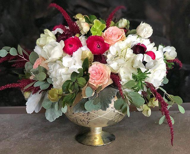 Various shades of berry and green.  #weddingmockup #octoberwedding #wedding #floraldesign #amaranthus #ranunculus #heleborus #roses#anenome #hydrangea #eucalyptus #dustymiller #lakeforestflorist