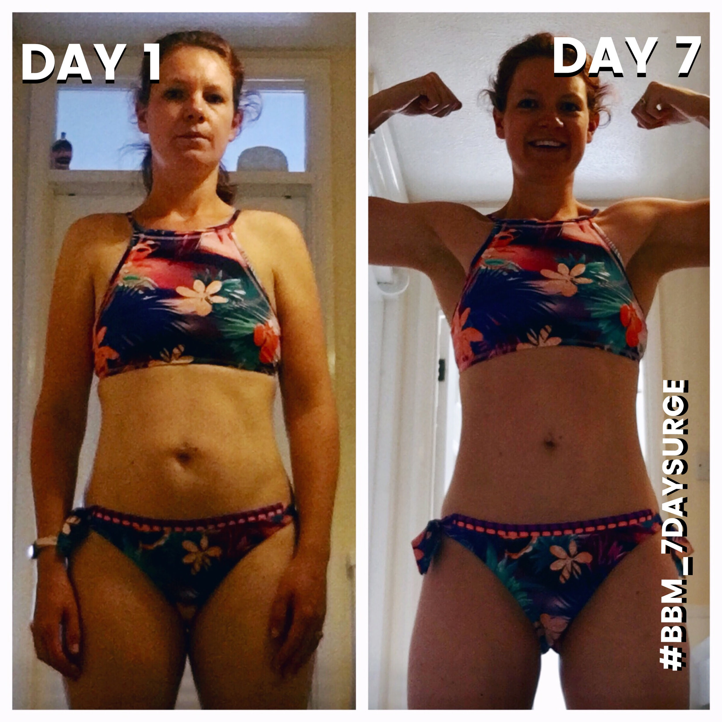 """Katie LOST 8.5 POUNDS on the 7 DAY SURGE!   """"I have been close to my target weight for months now but keep fluctuating up and down and never manage to lose those last few pounds. This is my first surge and it was just the boost I needed as this morning (Day 8) I weighed in at my target for the first time since I met my husband. I'm off on a beach holiday this weekend and actually feel proud of how I look in a bikini (well at 35 anyway). My husband has been doing the surge with me and having him as extra accountability was priceless. The first few days of the meal plan were tough but we made it through the fog and came out the other wise with a better understanding of our cravings and bad snack choices. Especially the """"I'm bored"""" relentlessly munching on goodies. Thank you to Briana and everyone at BBM for all your help and inspiration x """""""