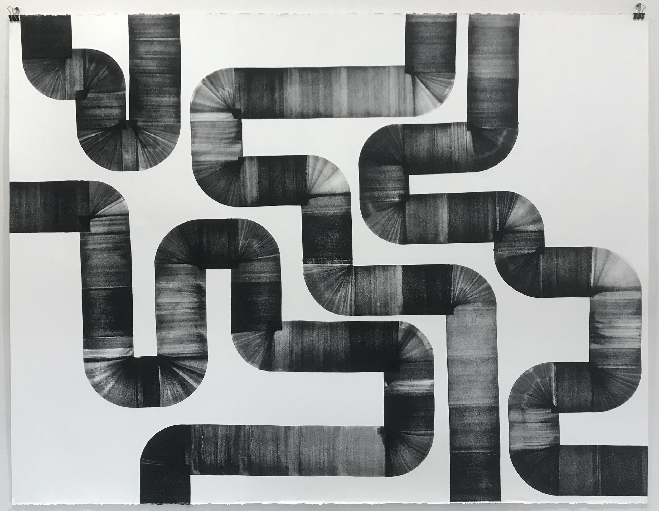 The Plumber Came By and Said the Pipes are Fine, 2018, Oil-based ink on paper, 38 x 50 inches
