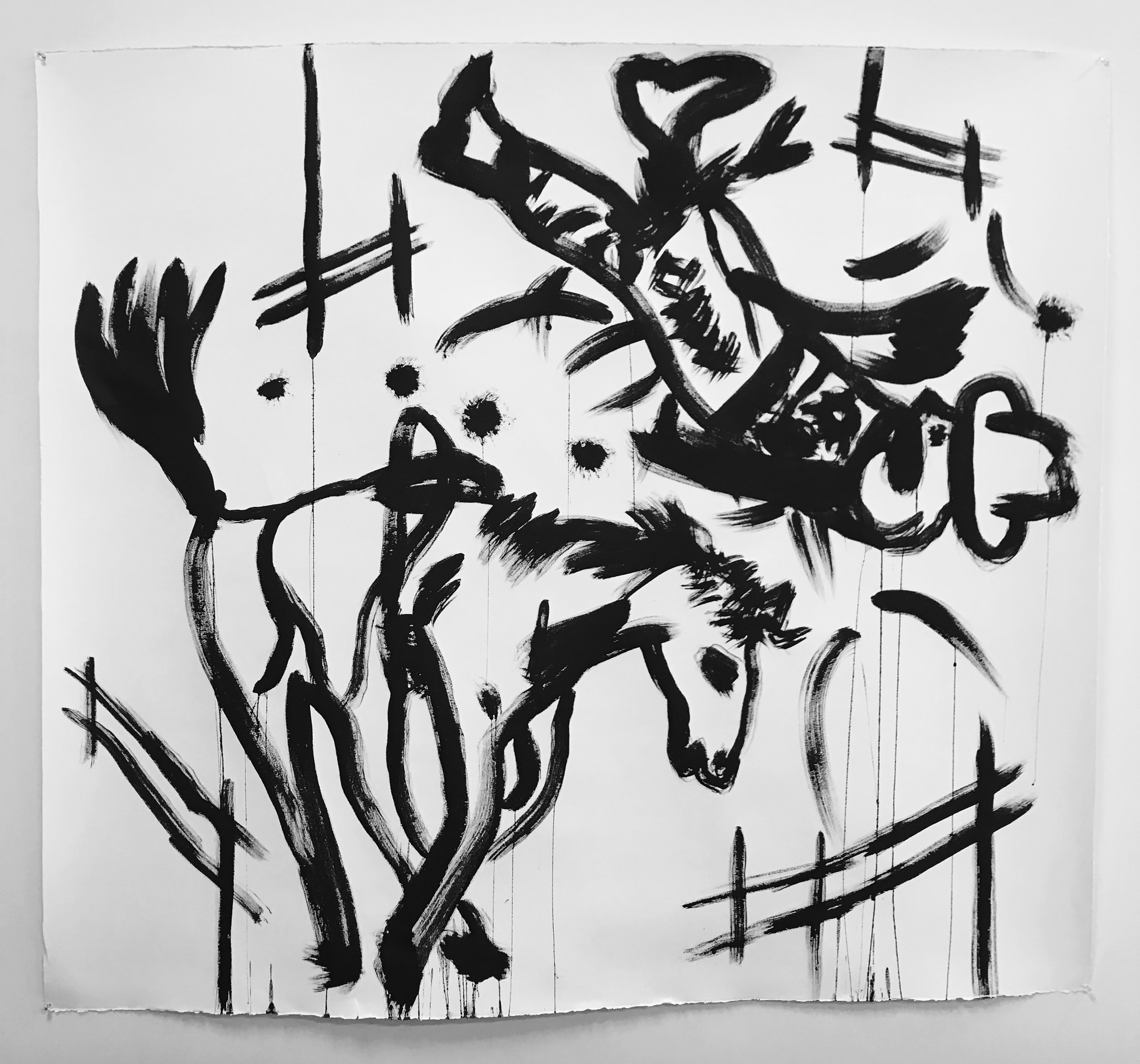 Bucked, 2018, sumi ink on paper, 51 x 55 inches