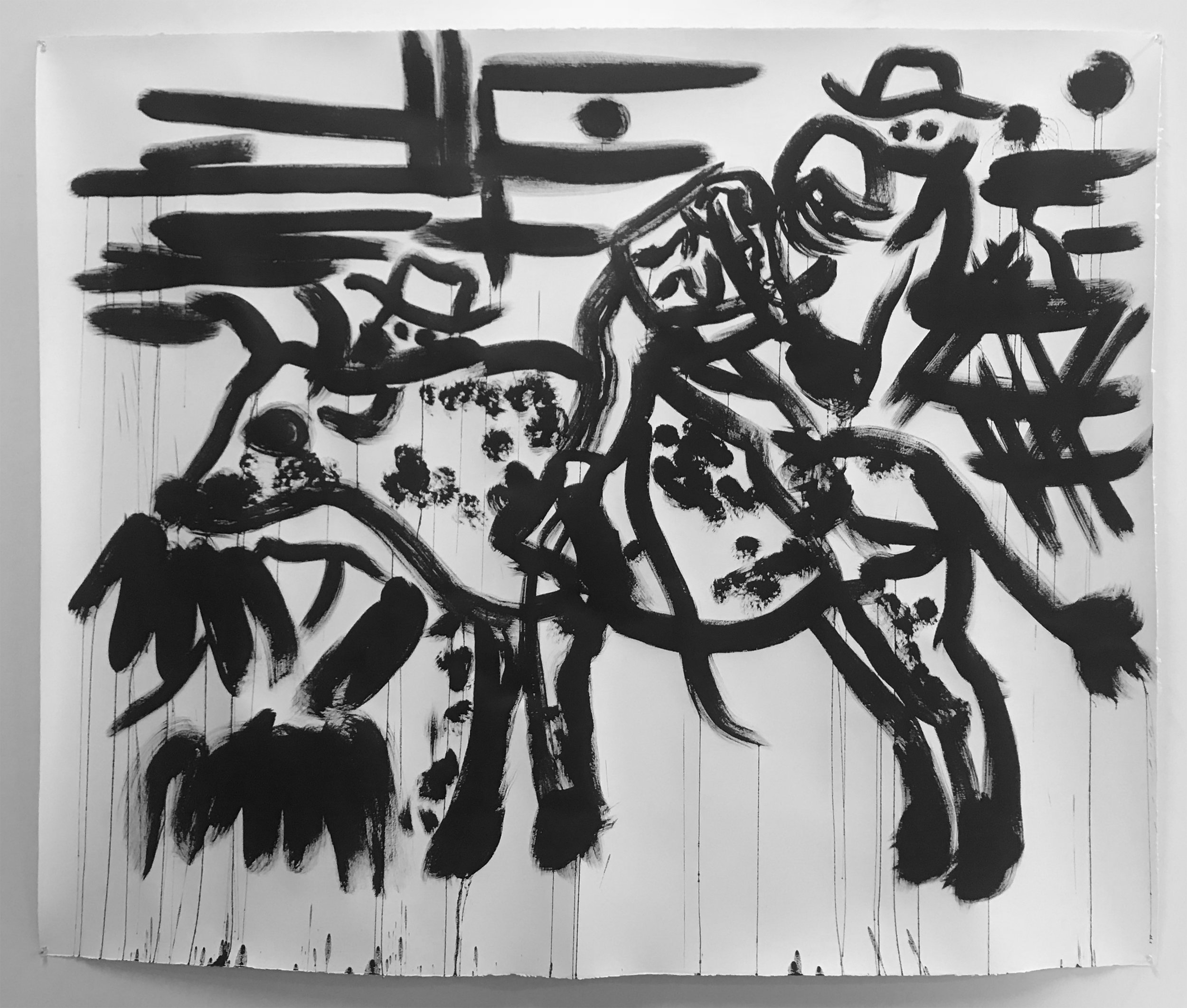 The Rider, 2018, sumi ink on paper, 51 x 55 inches