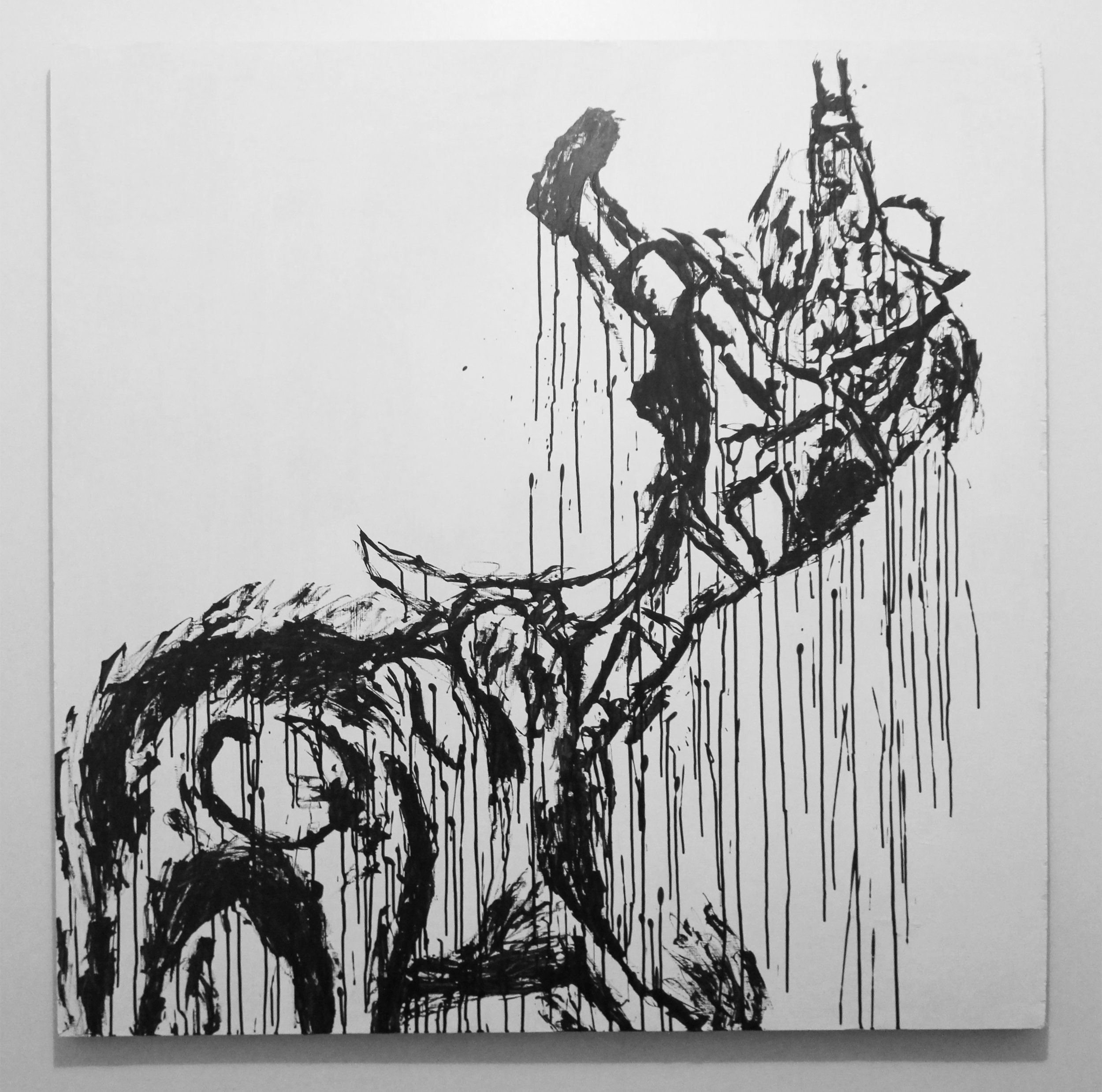 Bull and Self Transcended, 2018, sumi ink & gesso on wood panel, 48 x 48 inches