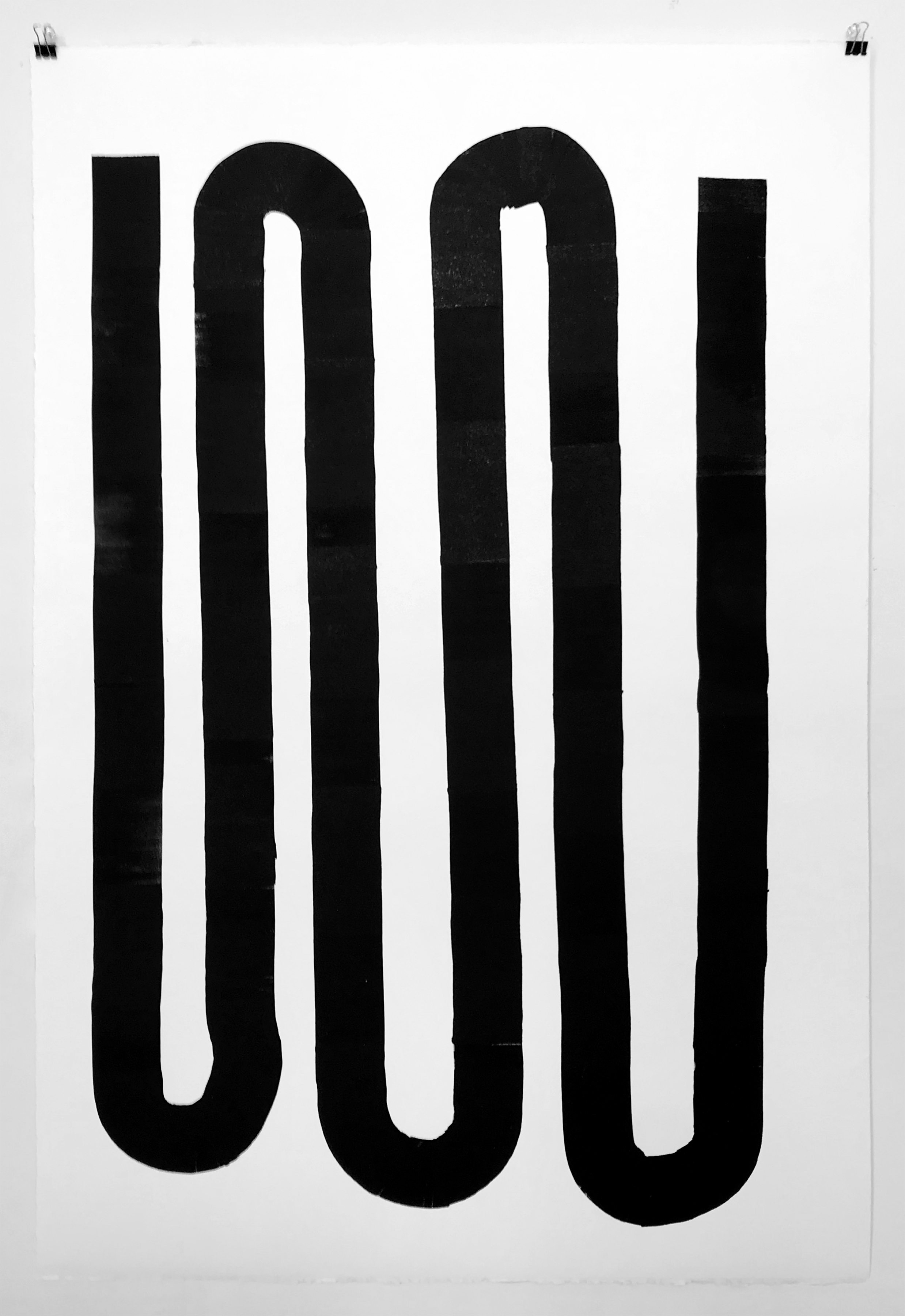 Radiator, 2019, Oil-based ink on paper, 44 x 30 inches
