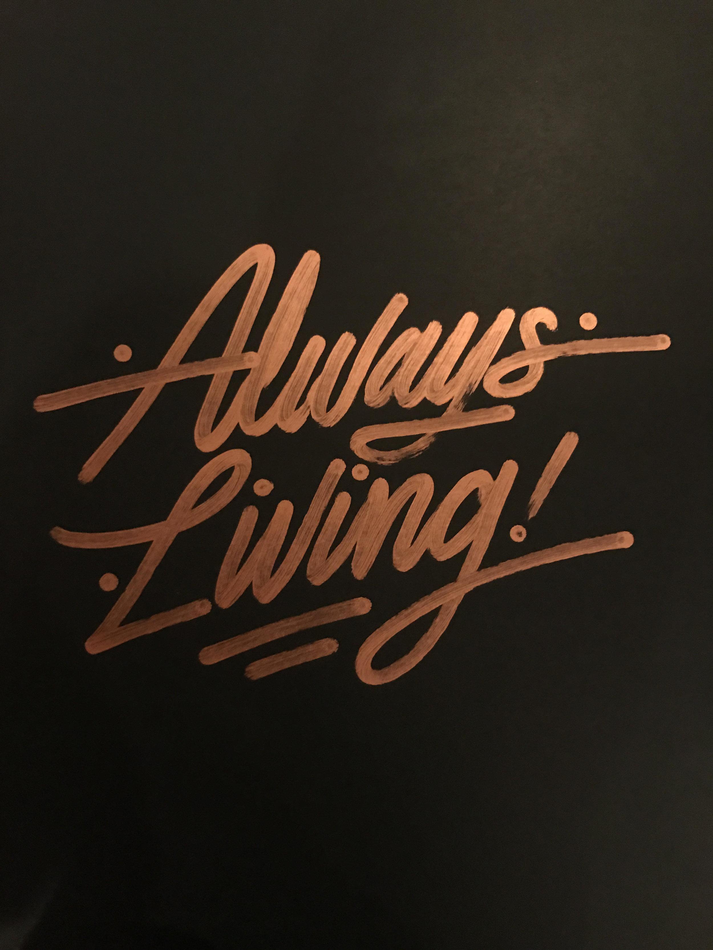 "Always Living , Ricardo Gonzalez, 22"" x 28"", Krink marker on black paper"