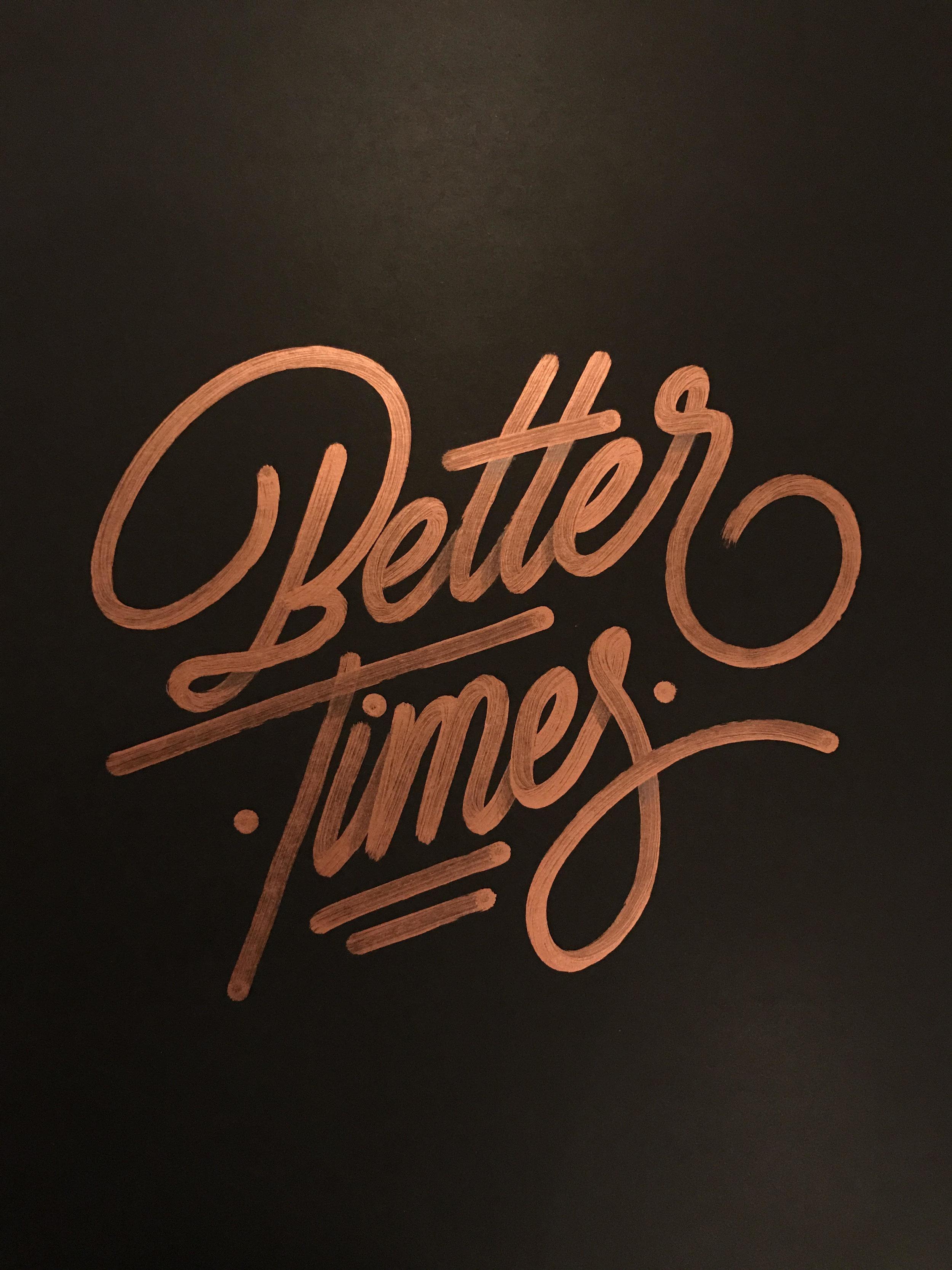 """Better Times , Ricardo Gonzalez, 22"""" x 28"""", Krink marker on black paper"""