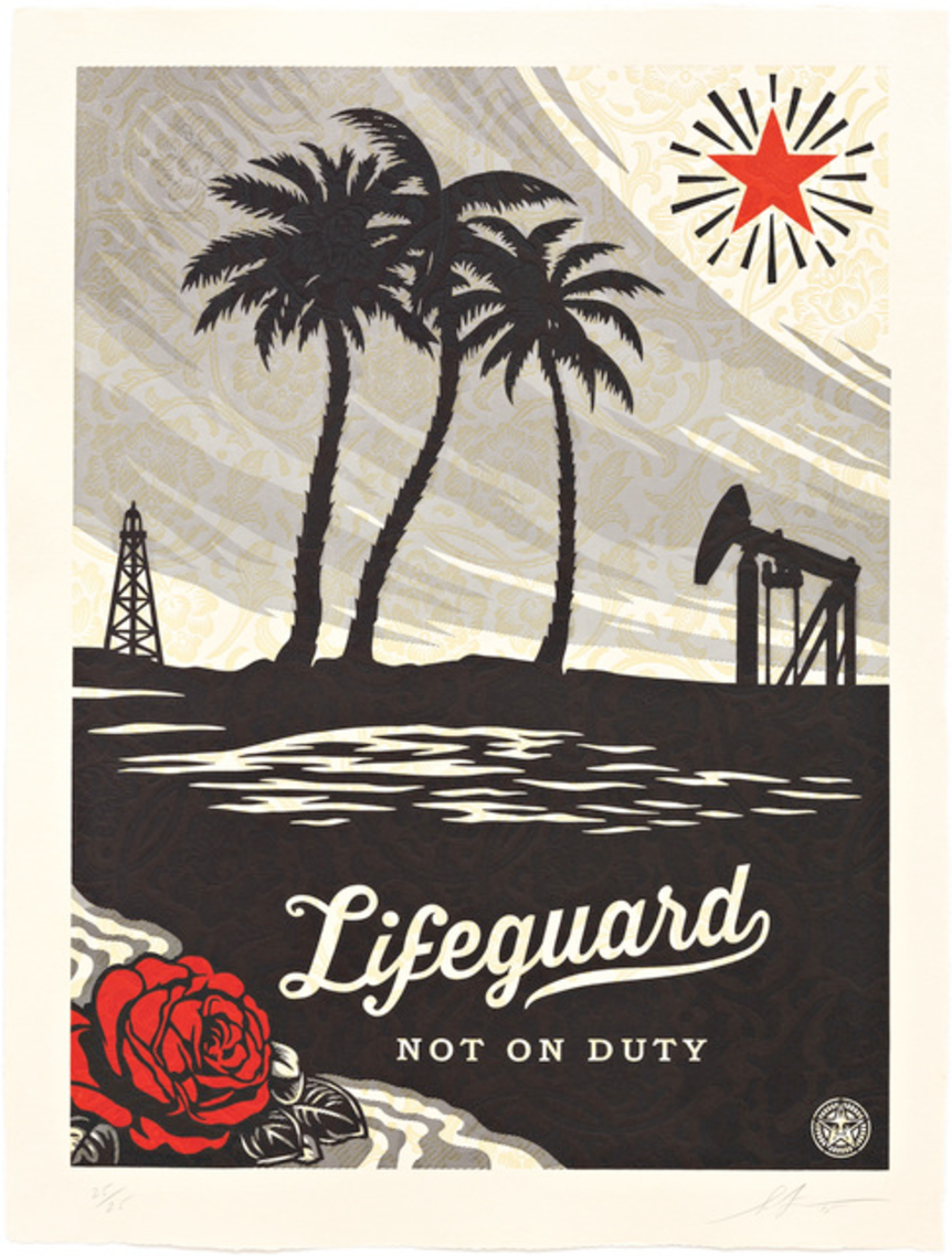 "Lifeguard Not On Duty,  Shepard Fairey (Printer's Proof Courtesy of Nina Dine), 40.5"" x 30.5"", Edition of 25, Three color relief on handmade paper."