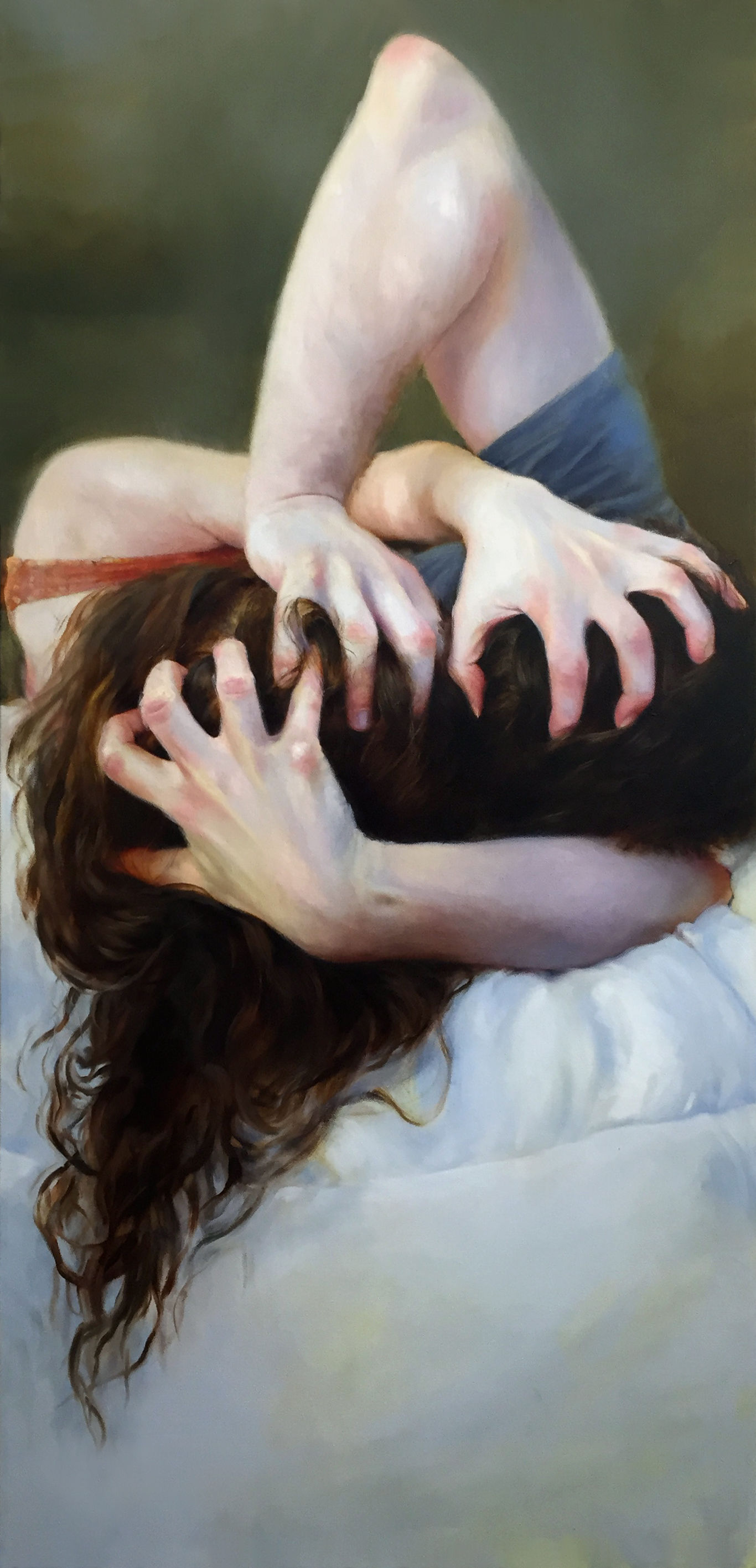 """All Is Fair, Rachel Sard, 48"""" x 24"""", Oil on canvas"""