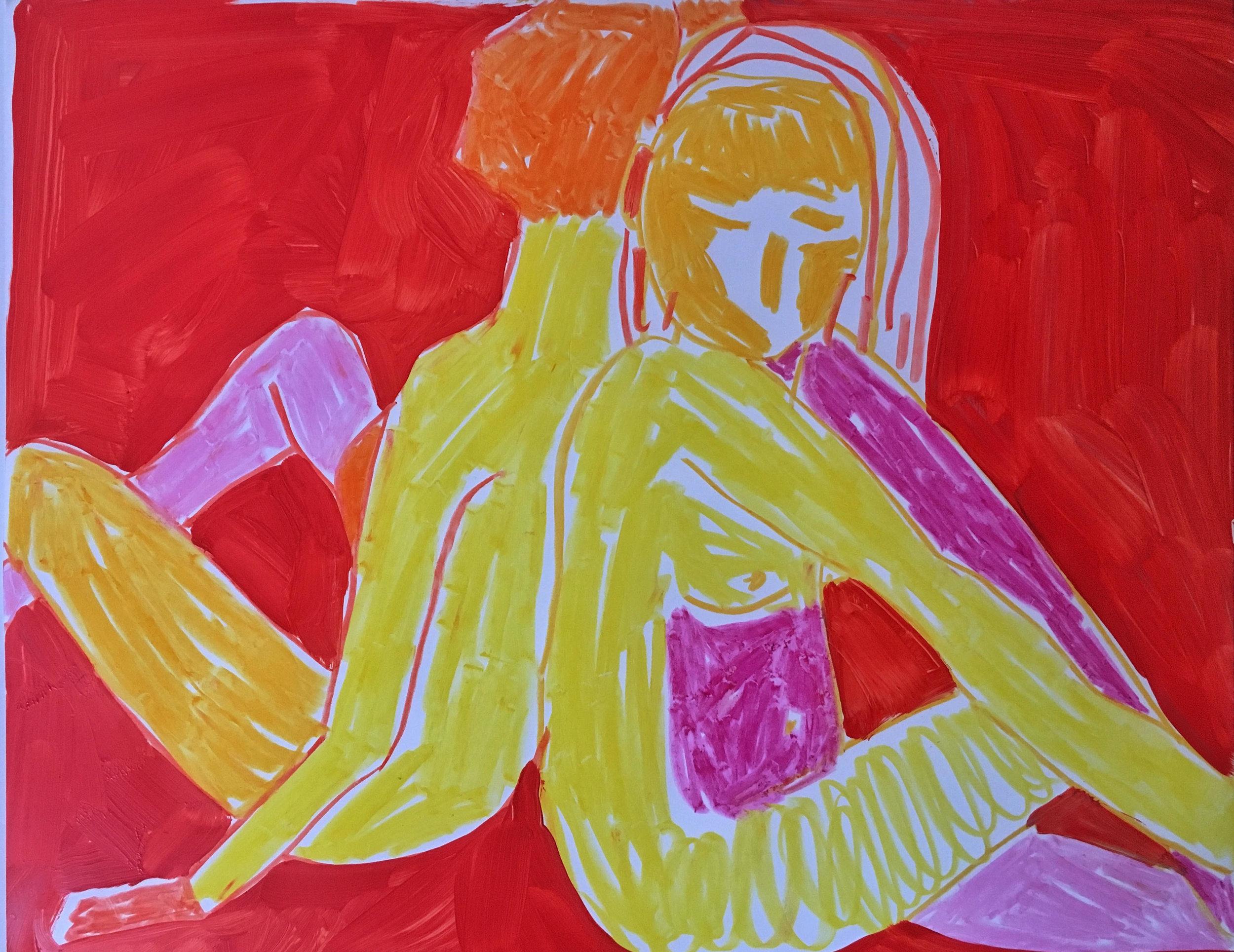 """Back to Back , Kimia Ferdowski Kline,  11"""" x 14"""", oil on paper"""