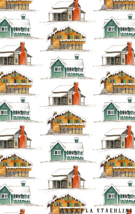 Winter Cabins Pattern