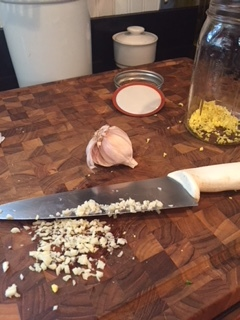 Two cloves of garlic, chopped.