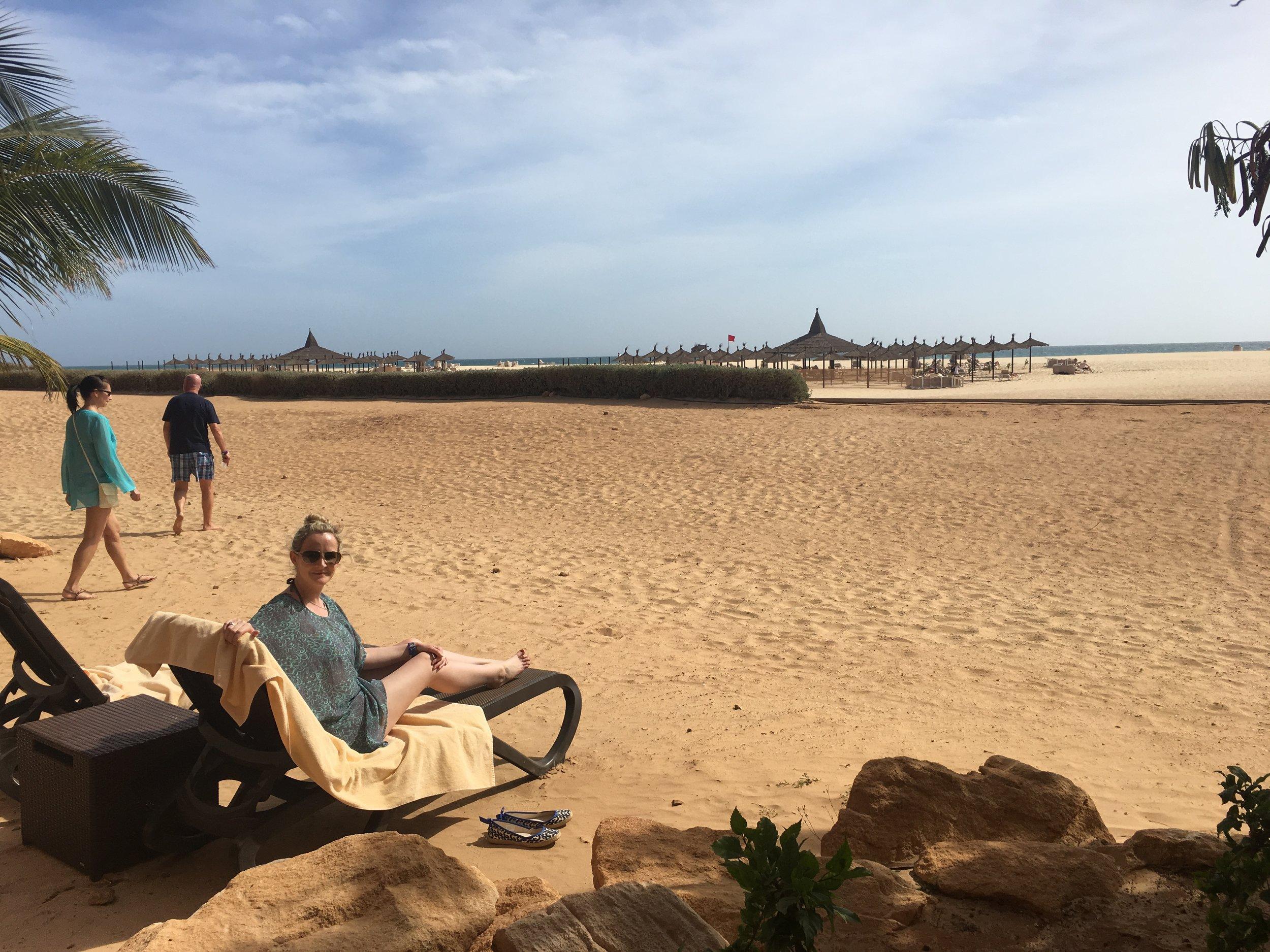 Outside the Riu Touareg Hotel Spa, overlooking the beach