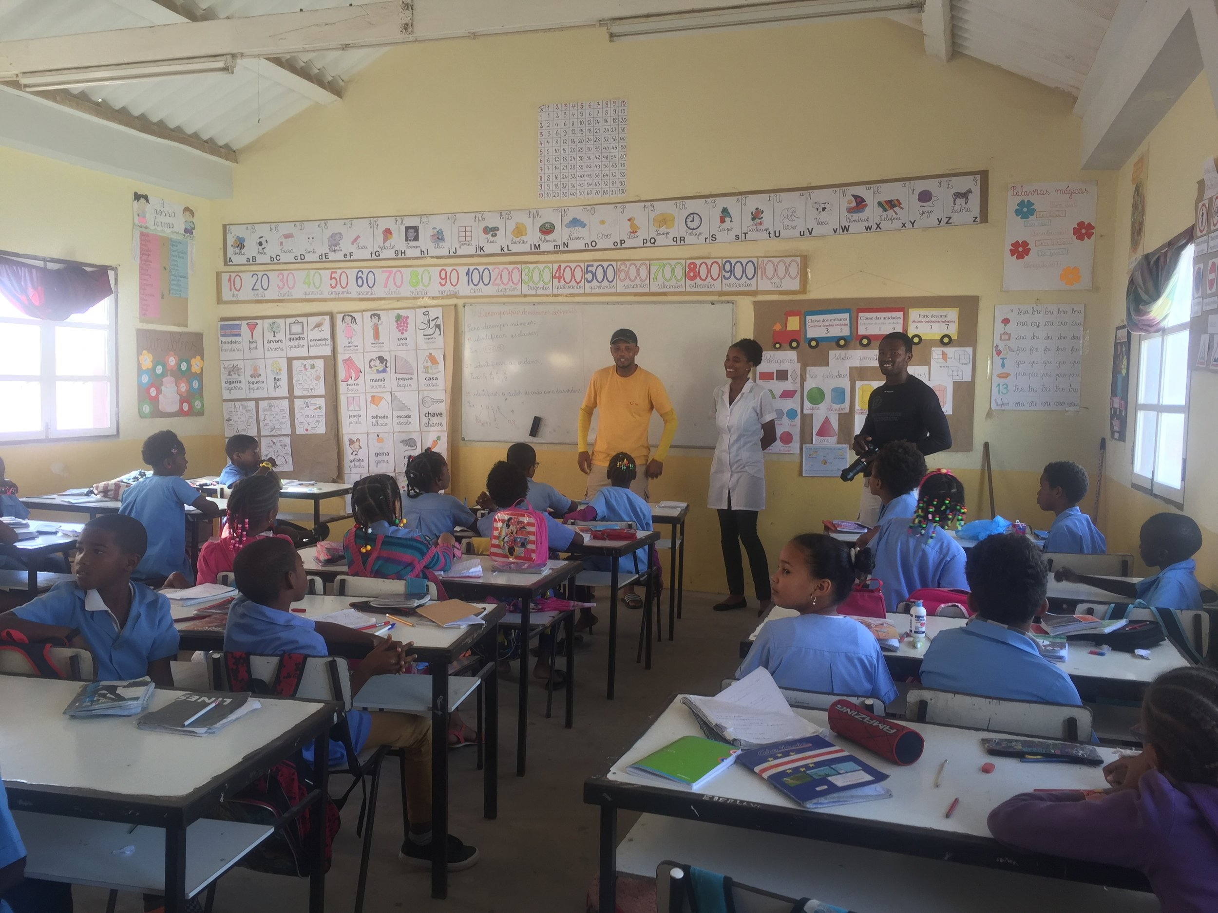 """A classroom in Sal Re's school - a thought provoking visit for many reasons. One girl had a """"Frozen"""" pencil case, but as she lived in the local shanty town she probably had no idea of the Disney film or characters"""