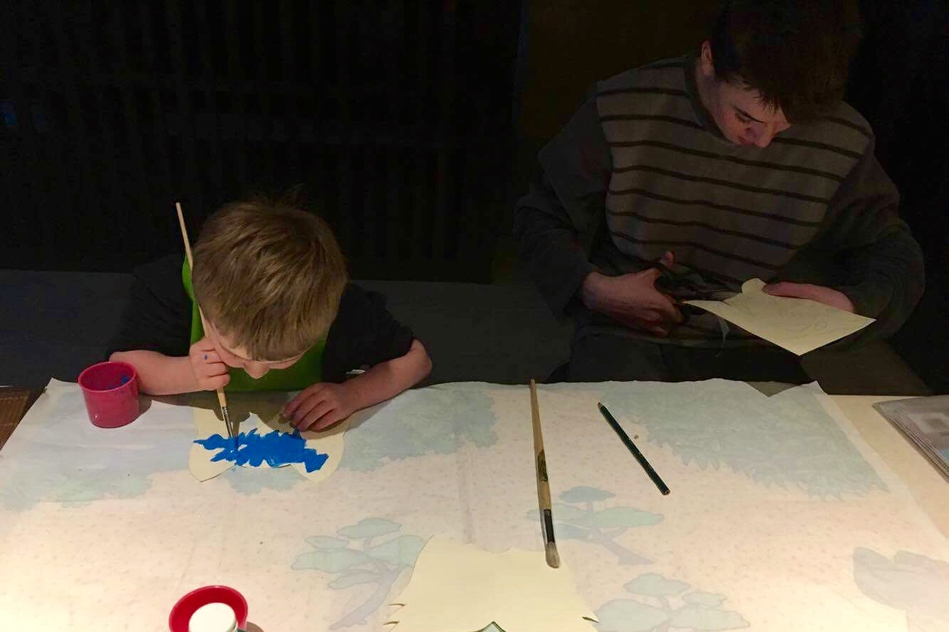 There may be 11 years between them, but here are my friend's boys doing crafts together