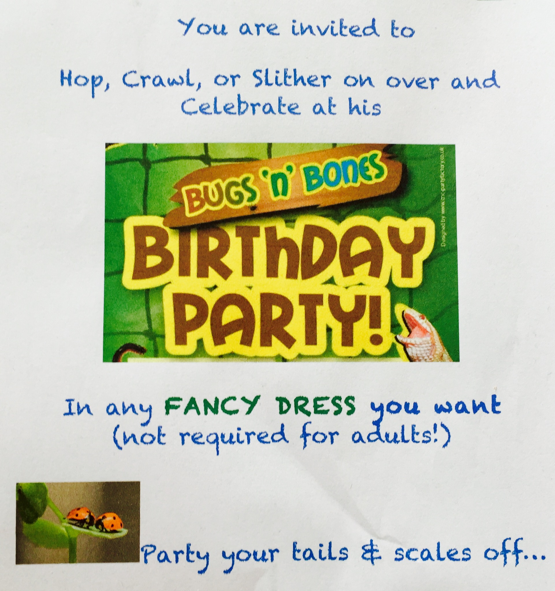 A cropped version of my home made party invite to give you some cute wording ideas!