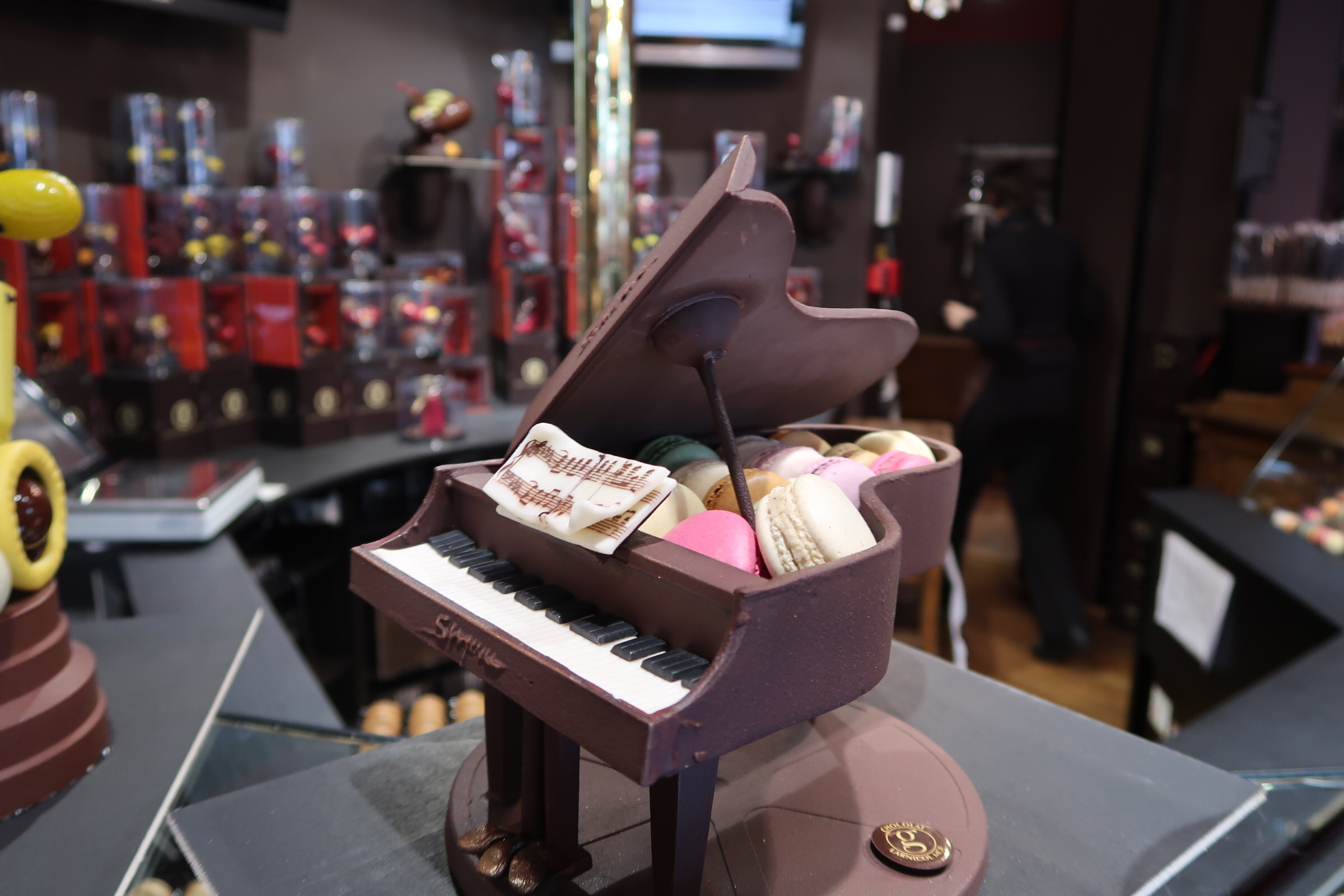 Chocolate Piano and macaroons