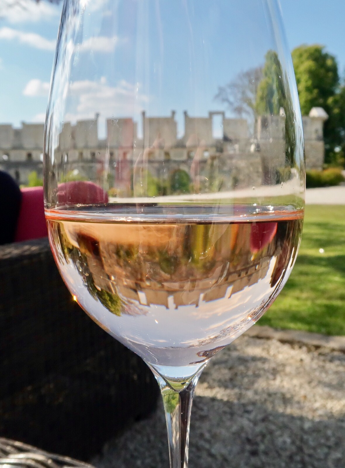 Chateau de Fere ruins, viewed through a rose tinted wine glass!