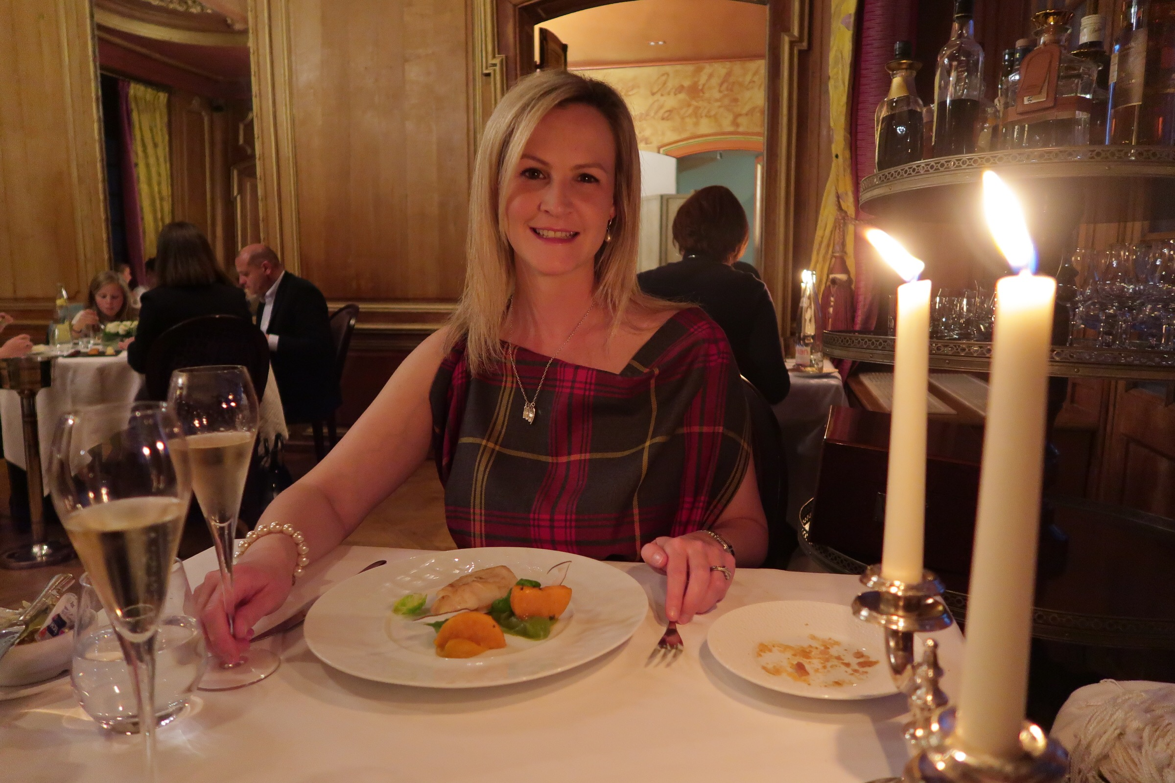 Me, at dinner, thoroughly enjoying myself!