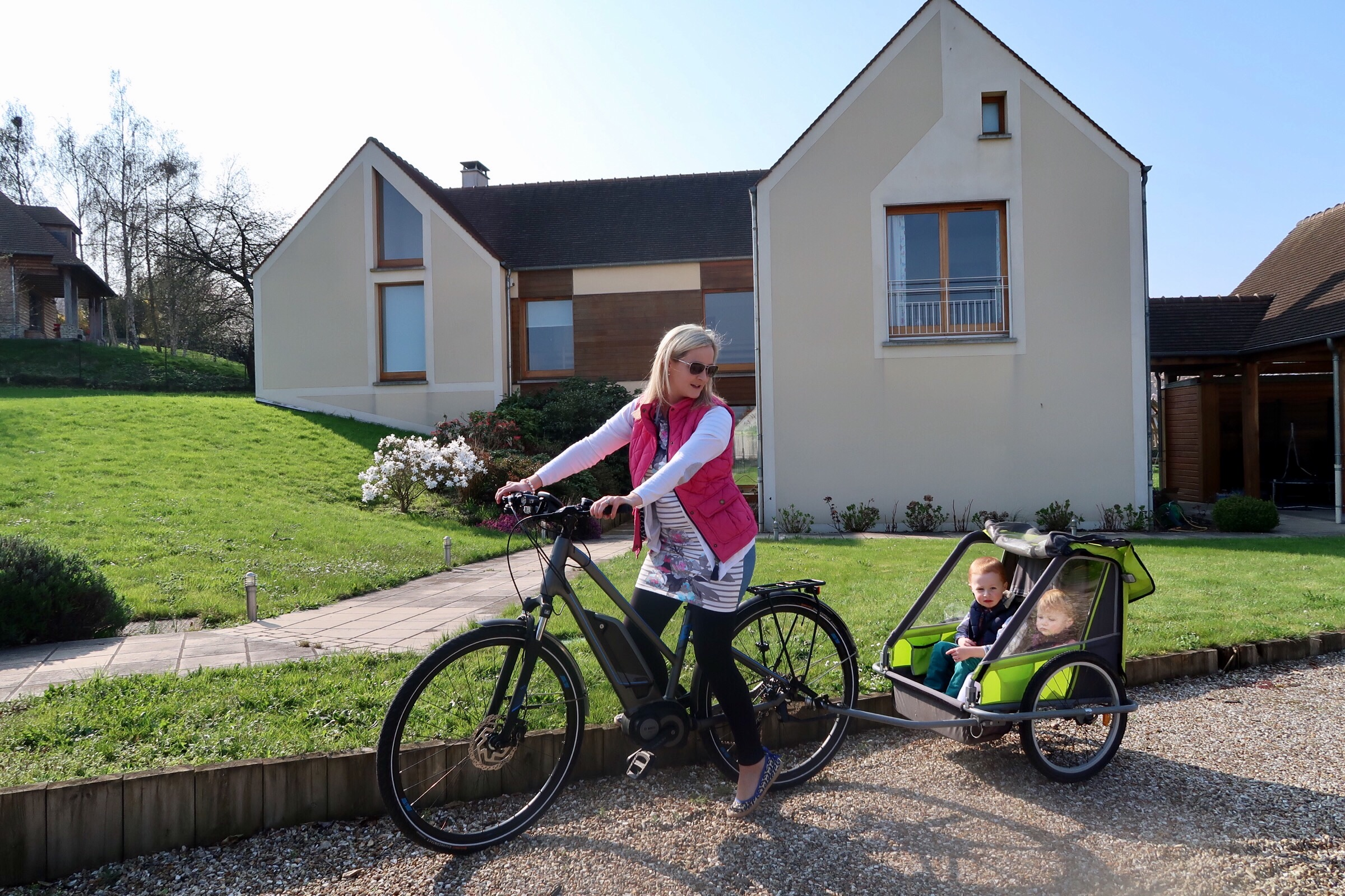 """School run (photo op - I do wear a helmet when riding) - I was actually called """"Maman Sportive"""" by another school parent - knowing myself, I chuckle inside at how ironic this is!!!"""