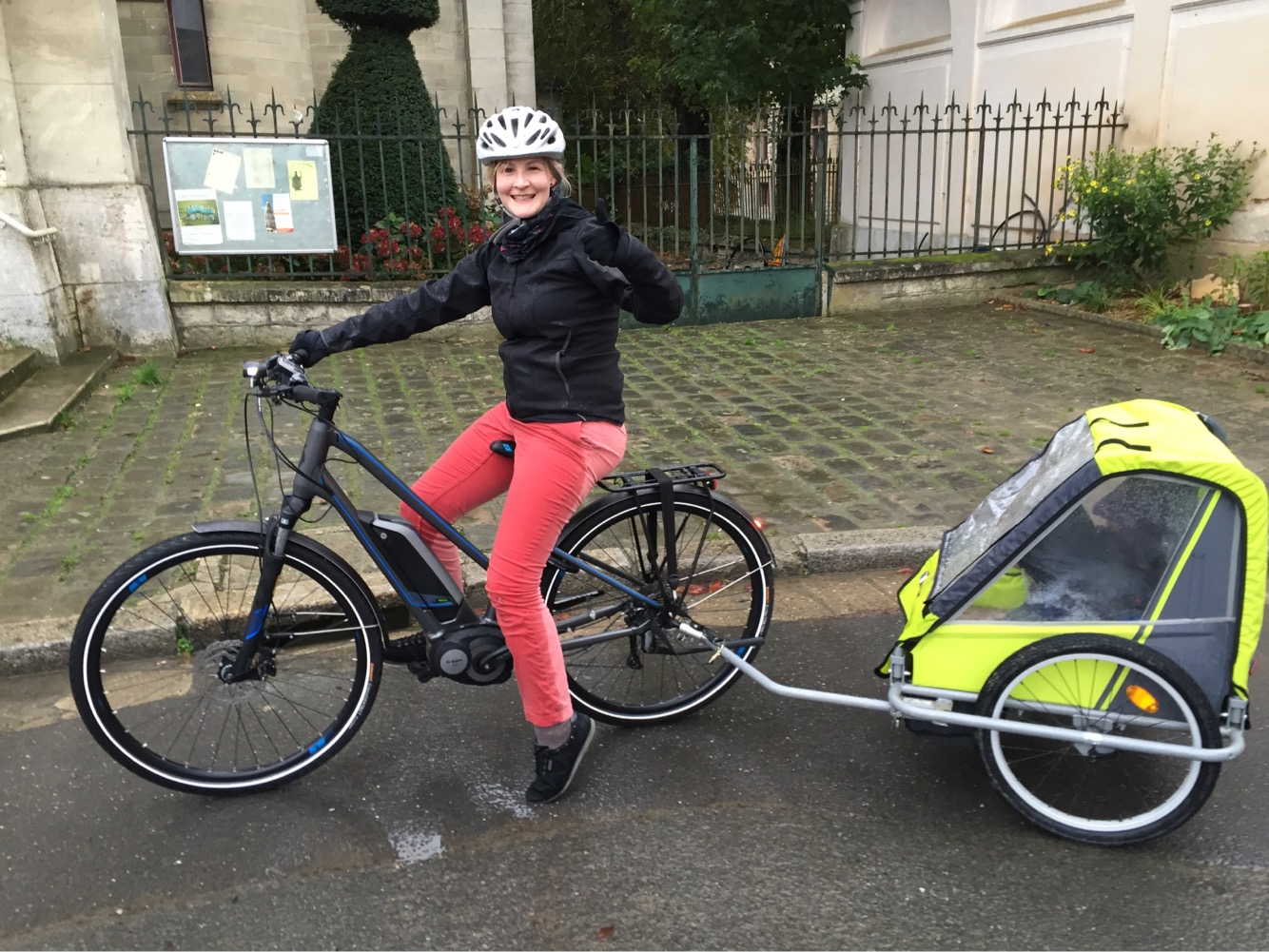 Me after our first (very wet) family ride (20km) - thumbs up! November 2016