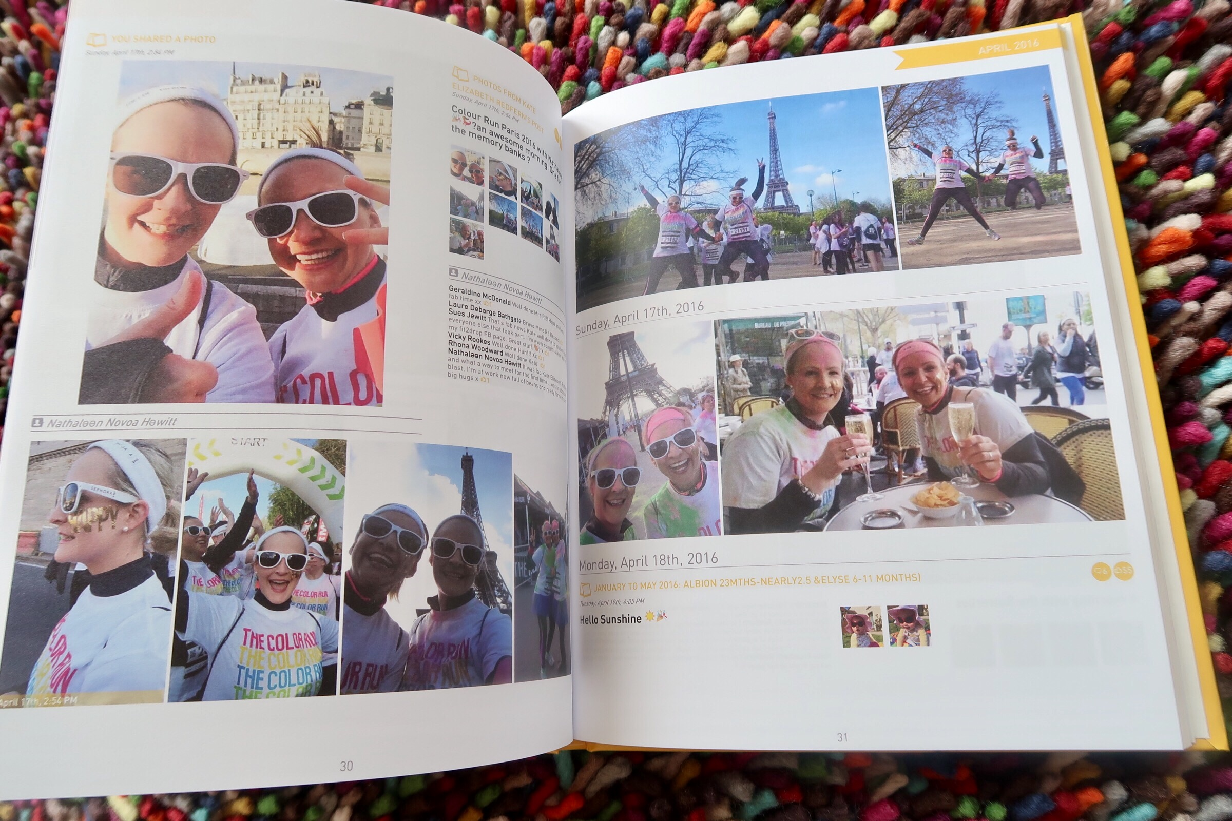 "Memories from the ""Colour Run"" with my friend here in Paris, who I met through the superb Facebook Group that she runs ""English Speaking Mums Living in Paris""."