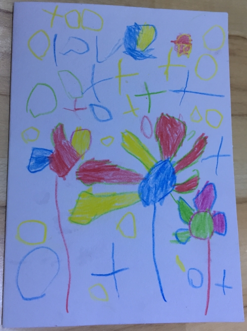 "Card drawn by my 4 year old. He was very pleased he wrote ""love"" at the top all by himself."