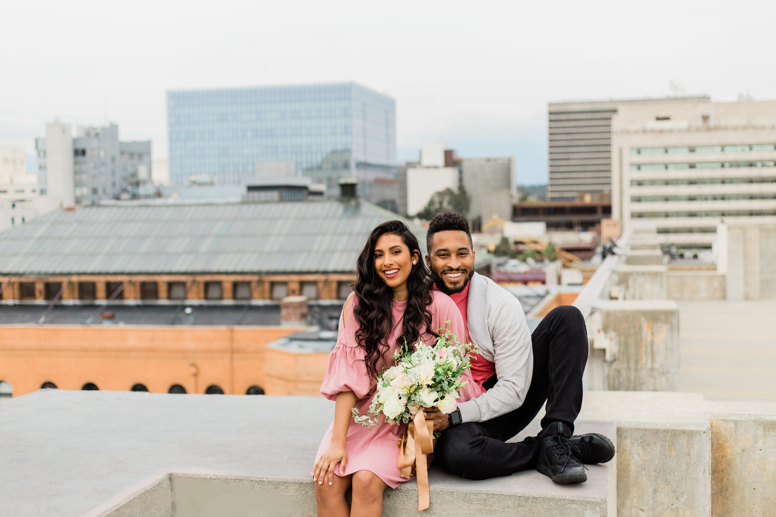 Downtown Los Angeles rooftop couple session. See the full set here: https://imeuniquejohnson.com/blogpost/downtown-los-angeles-rooftop-couple-shoot
