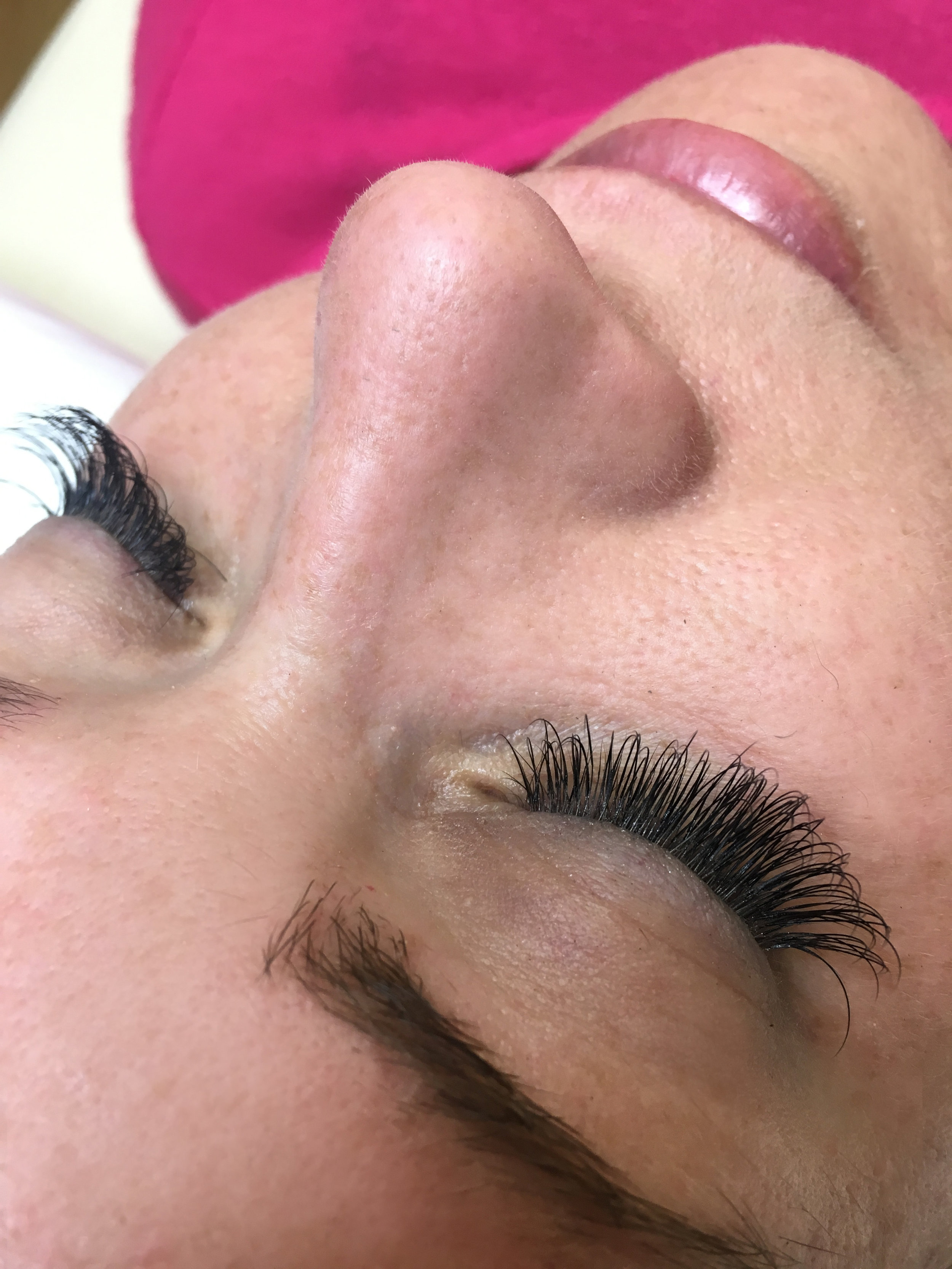 """""""I have always been extremely satisfied with my lashes done by Amanda! I get so many compliments on them. They are beautiful and natural. She is very professional and when I lay down to get my lashes done I get to relax and close my eyes. The pads she uses are way better than other places because they do not make my skin itch and are not heavy. She makes the bed warm, has a soft blanket, calming music and uses a soft pillow to make my experience amazing!"""" -Angela"""