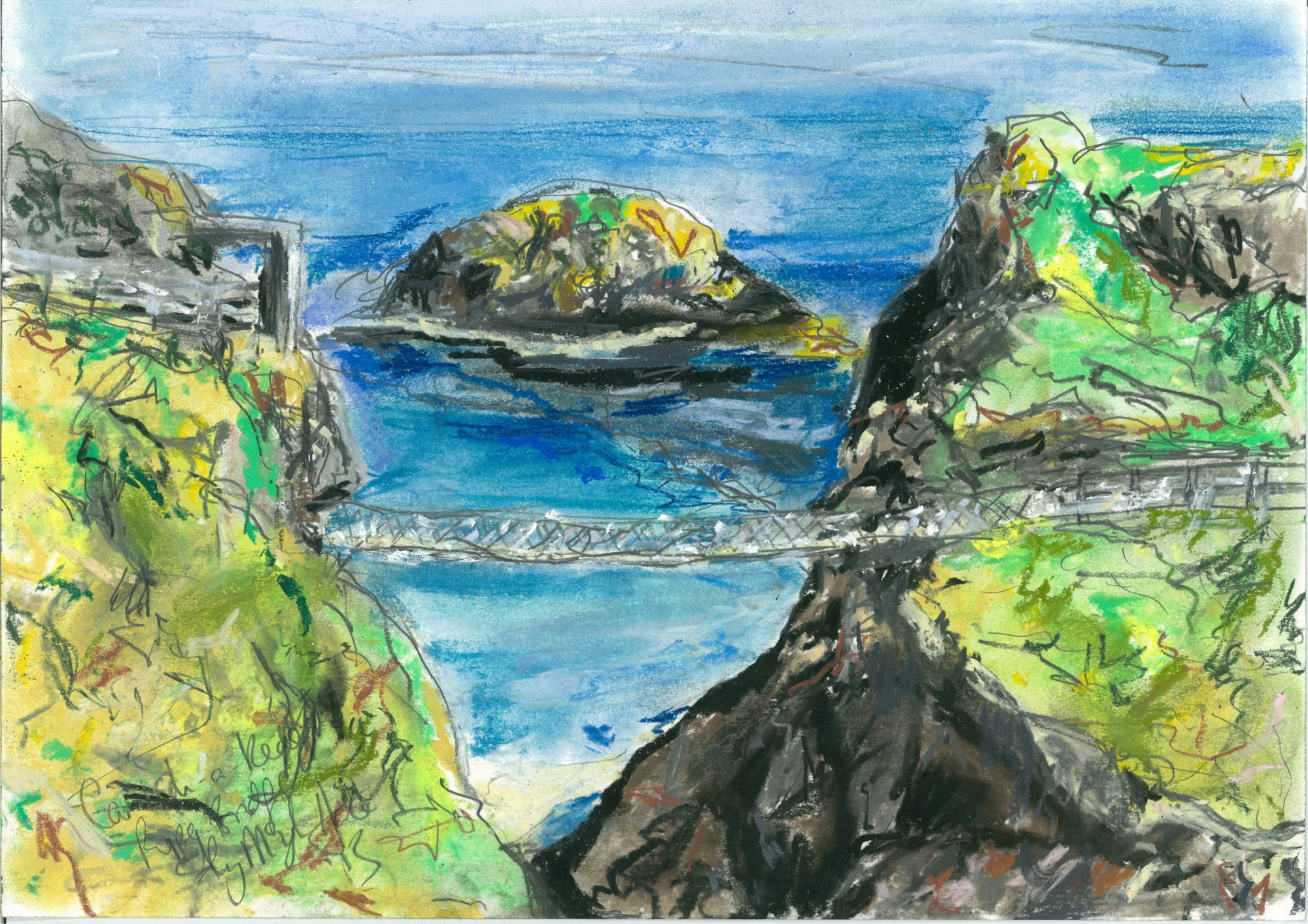 Carrick-A-Rede Rope Bridge/ Antrim Coast  Artist -  Aly Harte