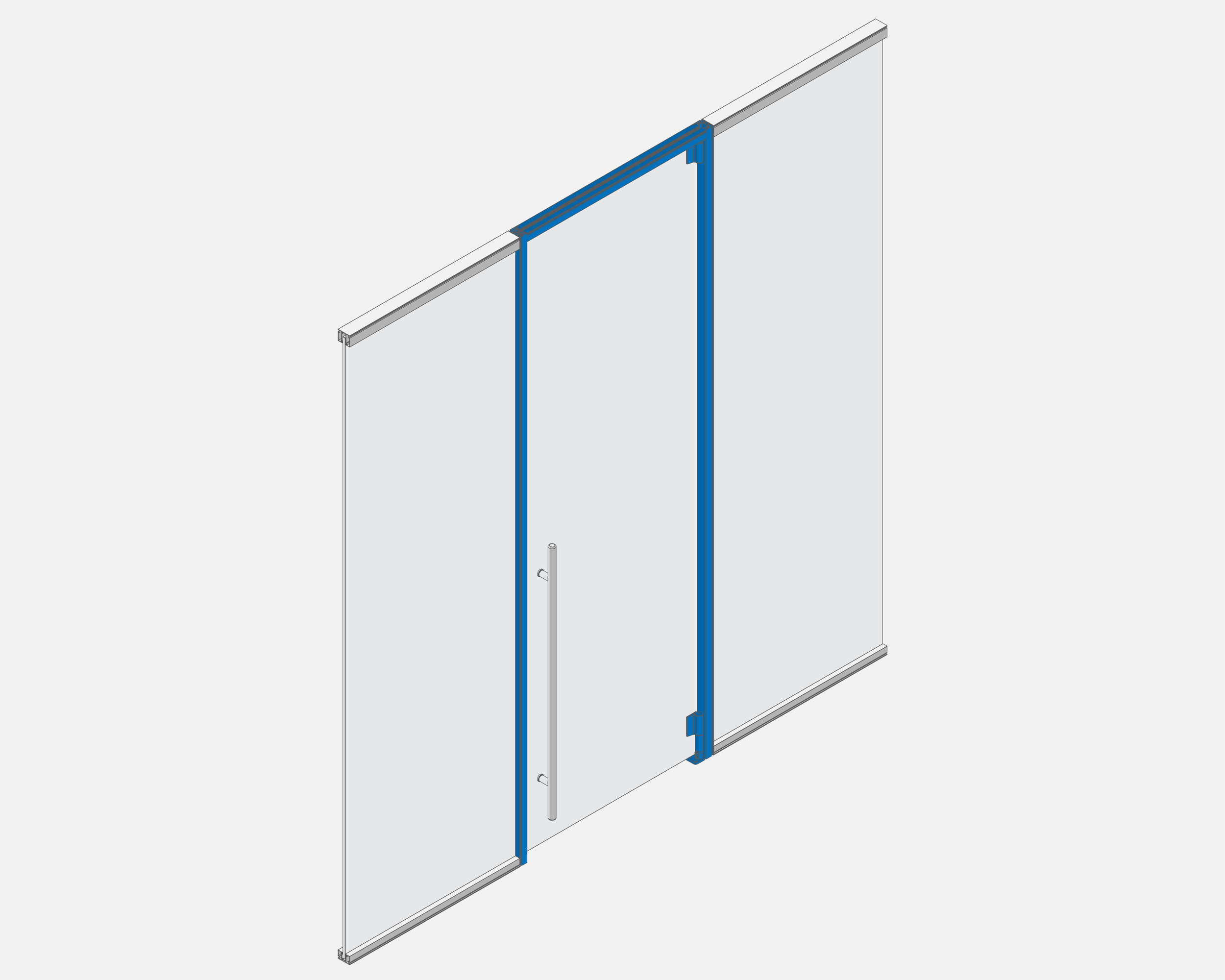 Swing Door Kit   Kit offered in standard 36 inch width, and heights up to 10 feet.  Included: Cut to height door surround / Top and bottom hinge and housing / Pressure gaskets  Designed for 3/8 inch glass