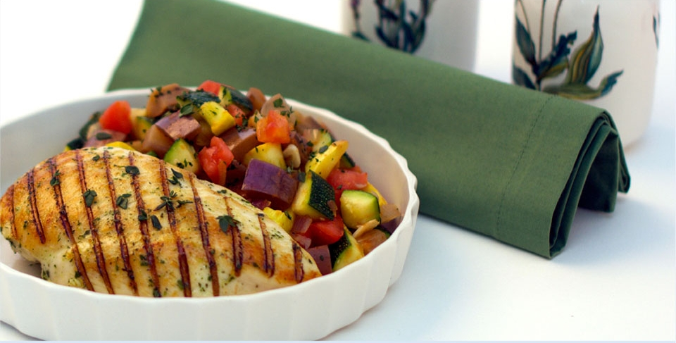 "Herbes de Provençe Grilled Chicken Breast with Ratatouile ""Minute"" - Malibu Beach Recovery Diet Cookbook"